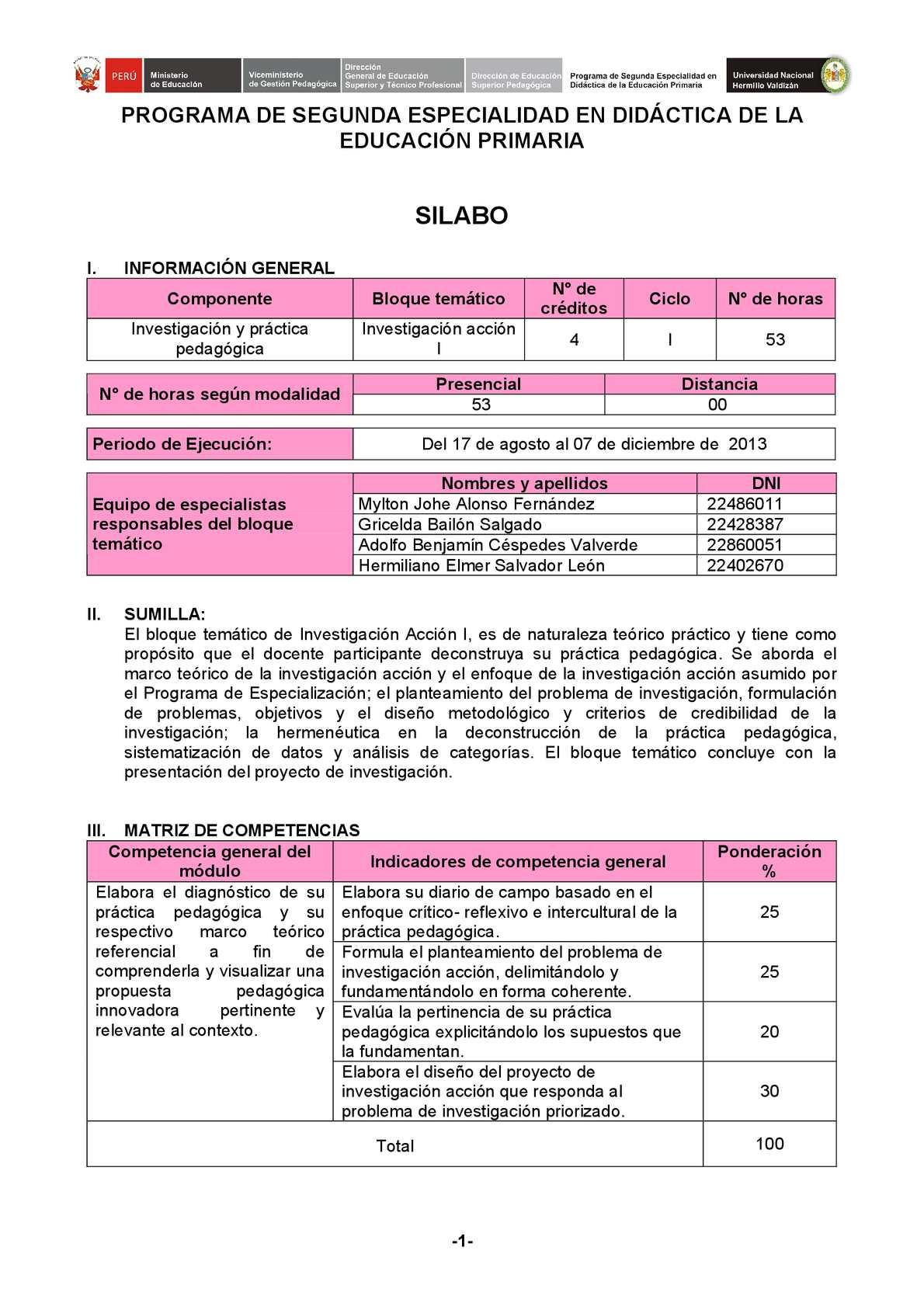 SILABO BLOQUE TEMATICO INVESTIGACION ACCION
