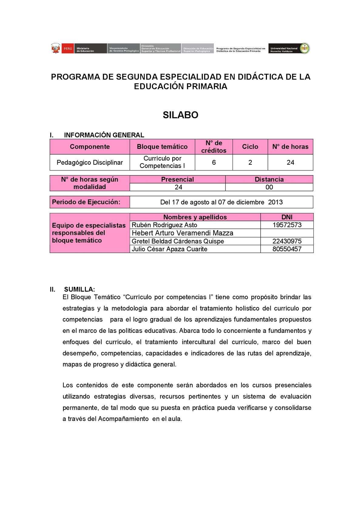 Calaméo - SILABO BLOQUE TEMÁTICO CURRÍCULO POR COMPETENCIAS