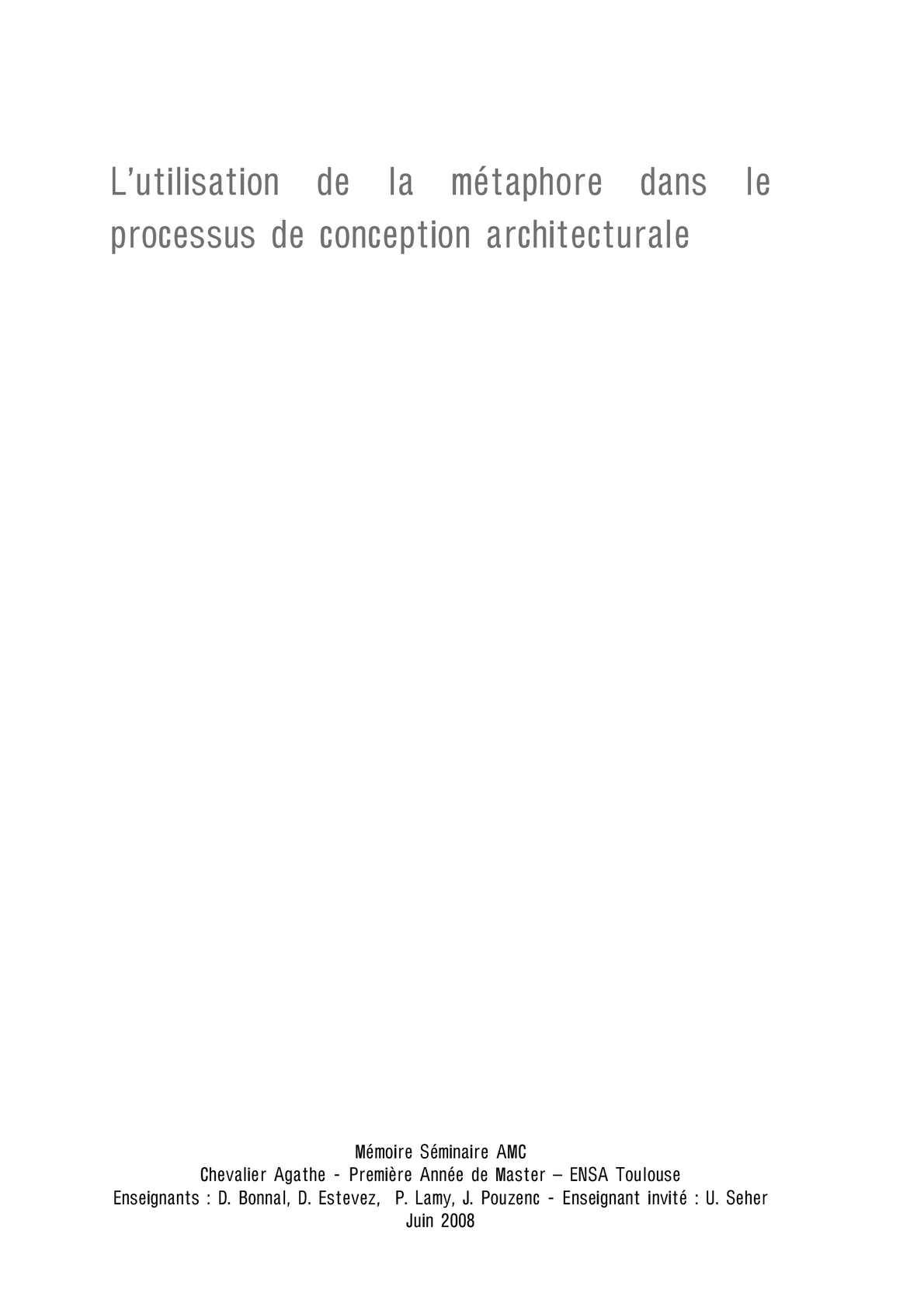 Calam o l utilisation de la m taphore dans le processus for Conception architecturale definition