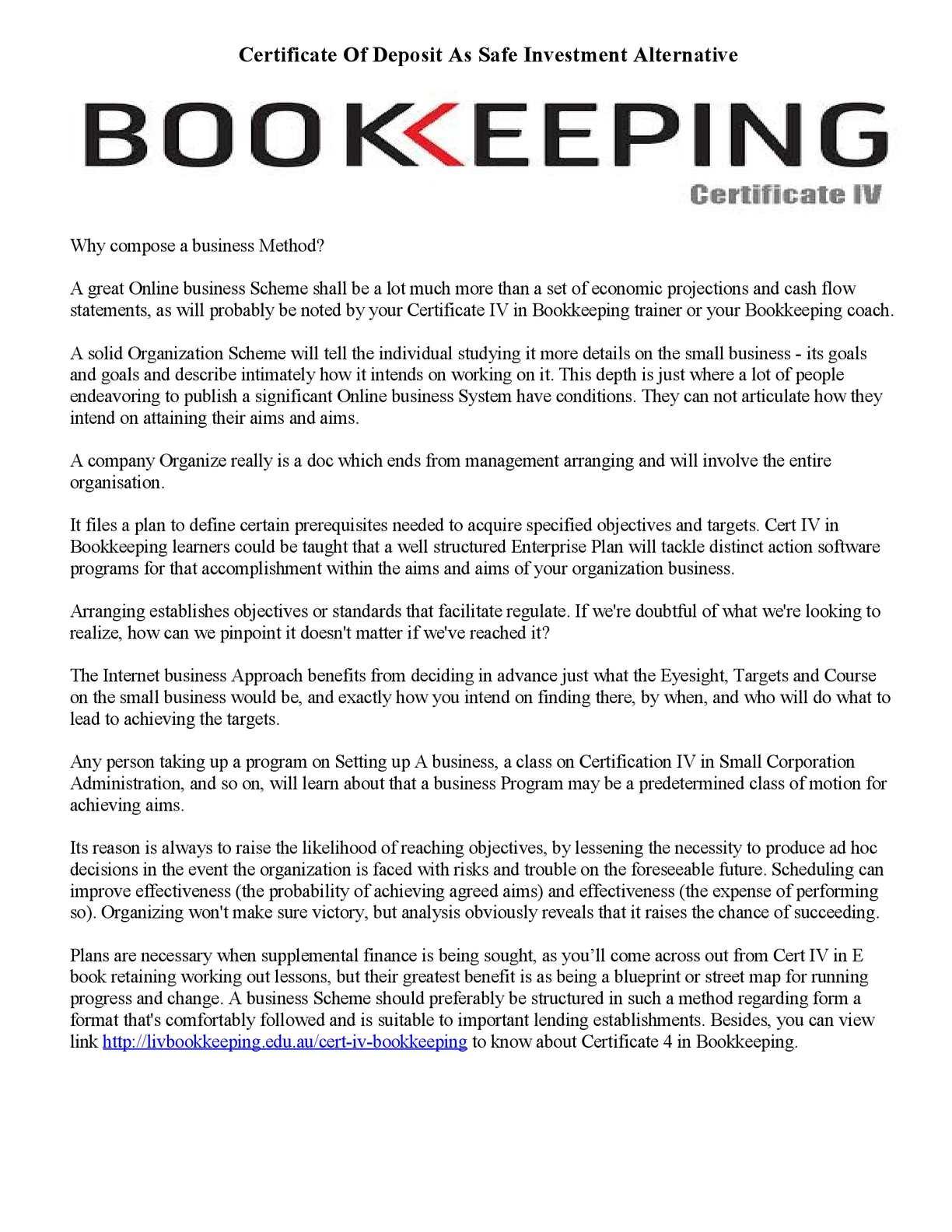 Calamo Certificate 4 In Bookkeeping