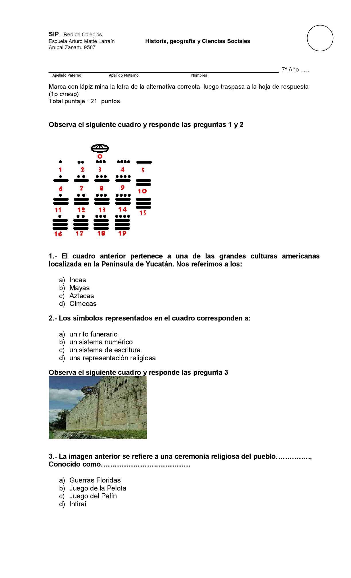 Prueba  escrita de pueblos precolombinos