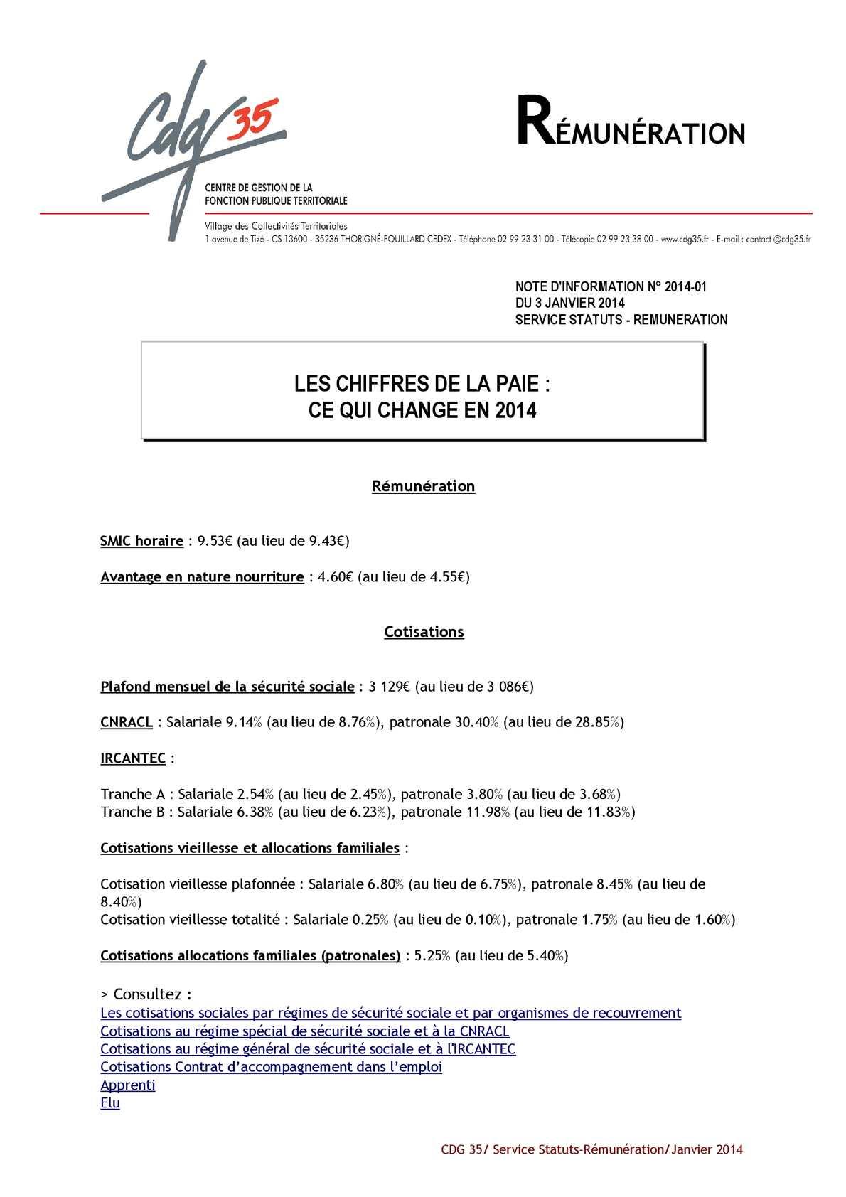 Calam o gayraud dominique chiffres de la paie 2014 - Plafond mensuel de la securite sociale ...