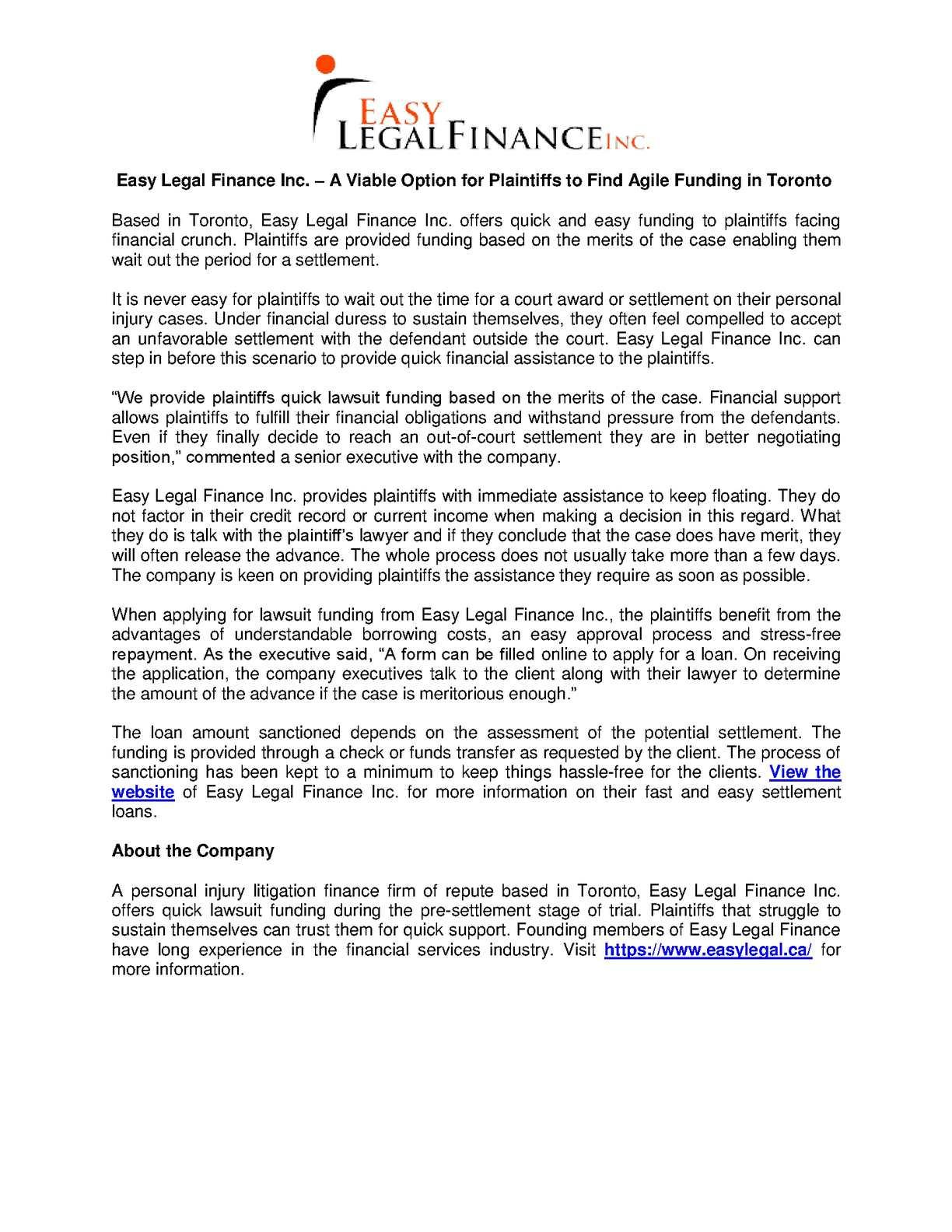 Calaméo Easy Legal Finance Inc A Viable Option For Plaintiffs - Easy legal documents