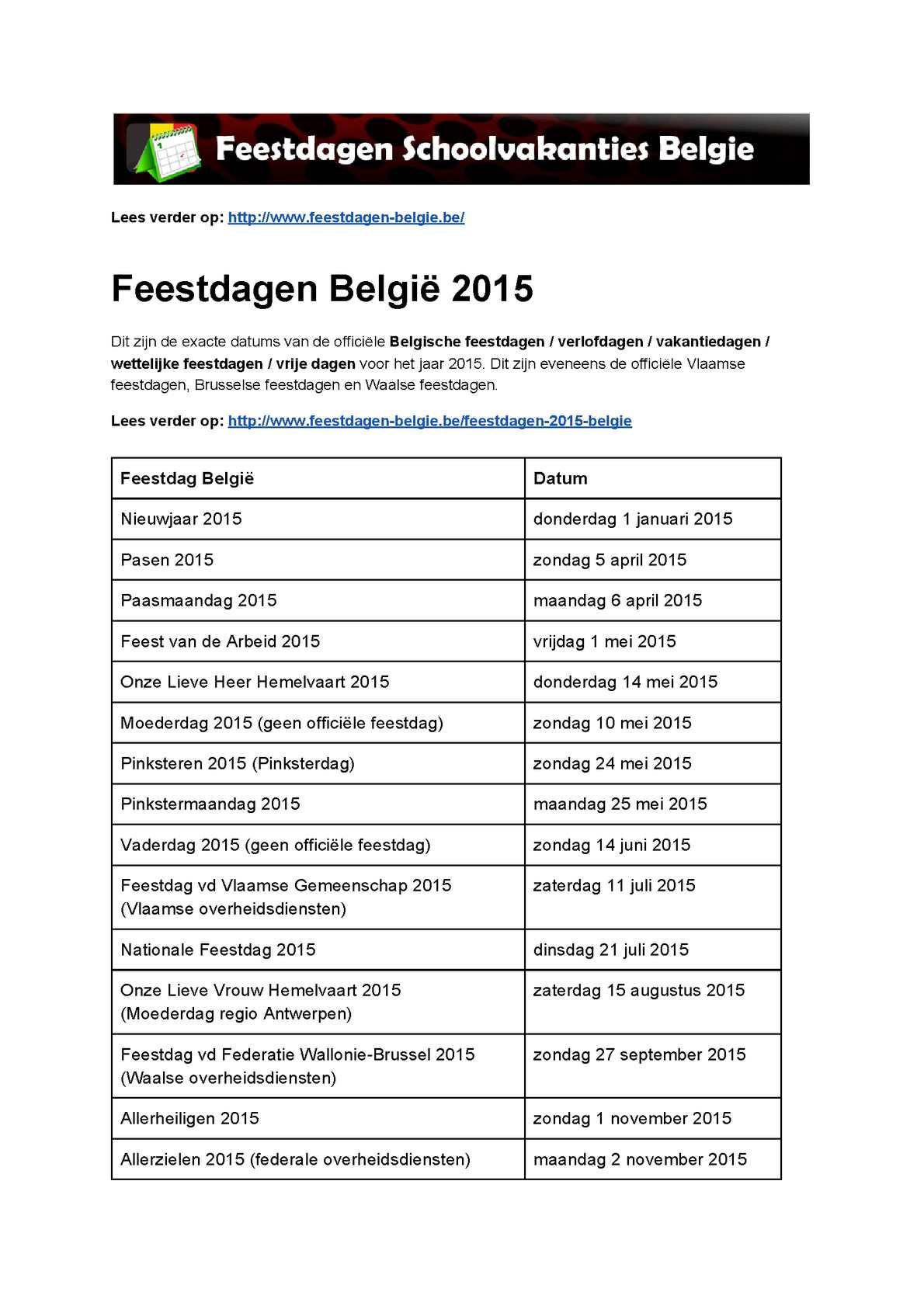 officiele vakantiedagen belgie