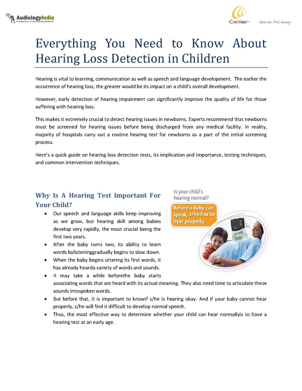 an overview of the hearing loss occurrence in children