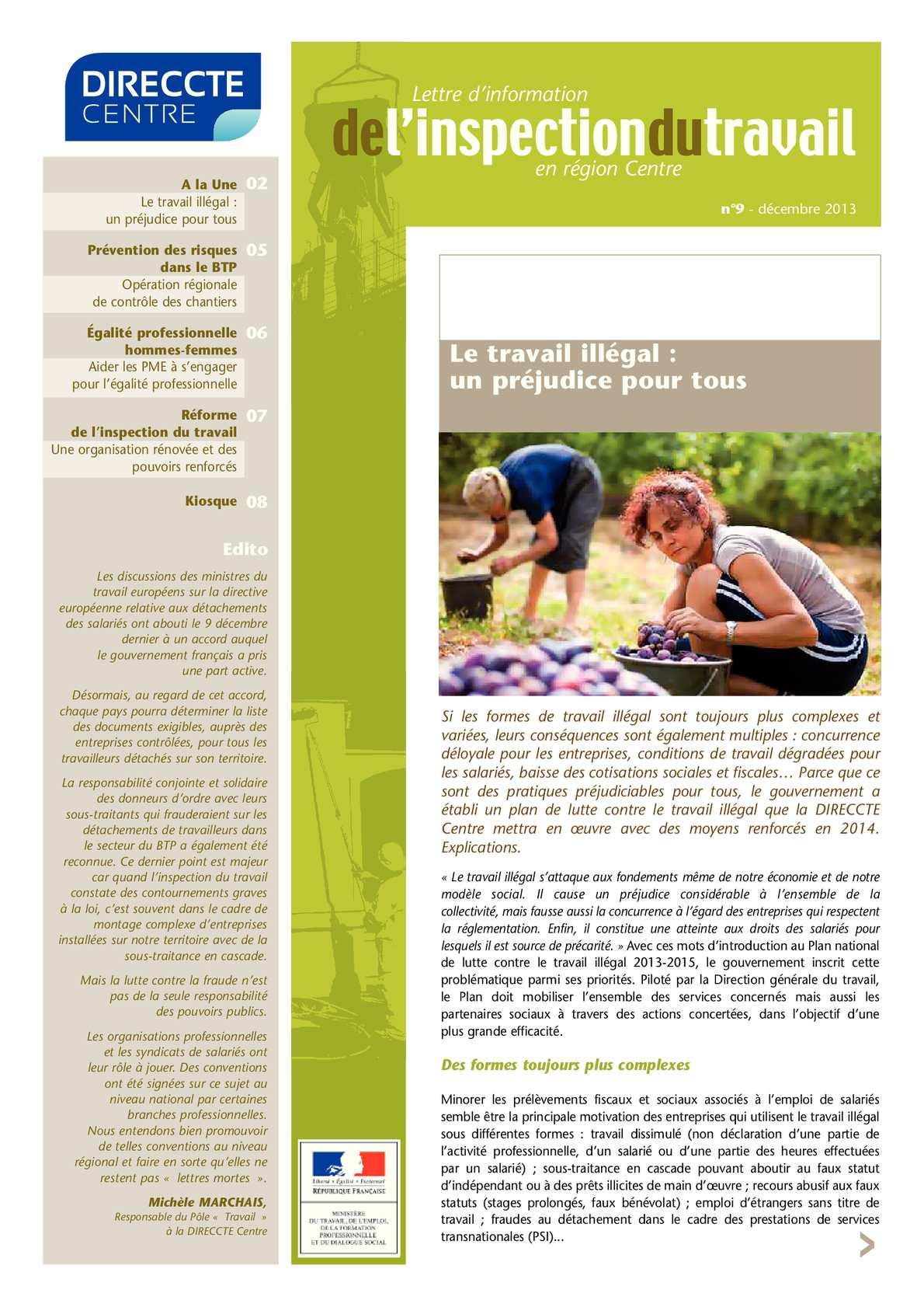 Calam o 9 lettre d 39 information de l 39 inspection du travail n 9 d cembre 2013 - Inspection du travail bourges ...