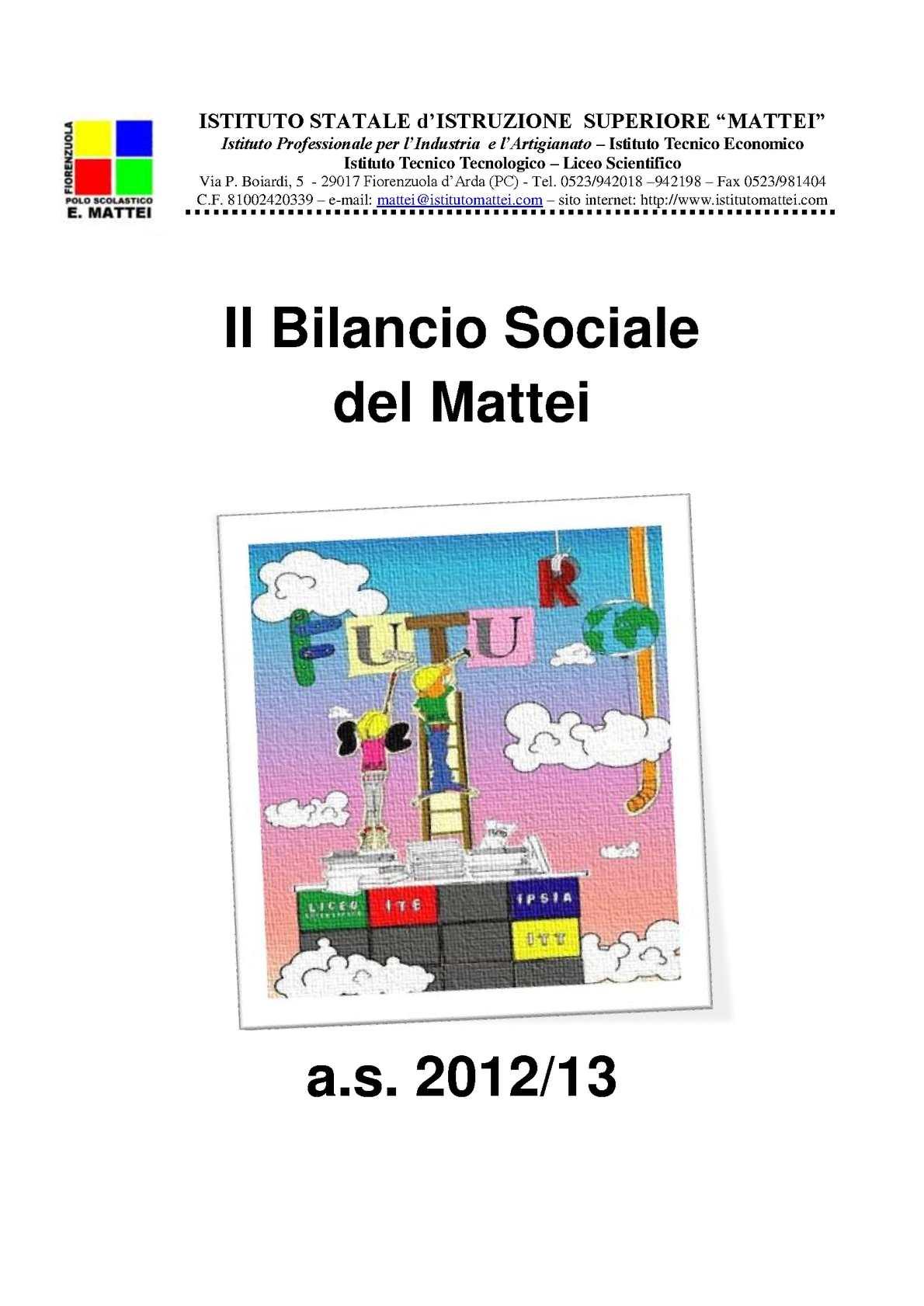 Bilancio Sociale dell ' Istituto Mattei di Fiorenzuola d' Arda (Pc) - Italia