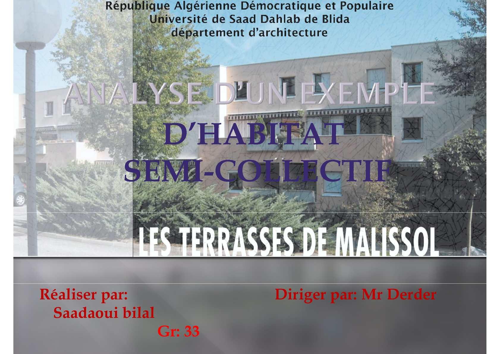 ANALYSE D'UN EXEMPLE D'HABITAT SEMI-COLLECTIF