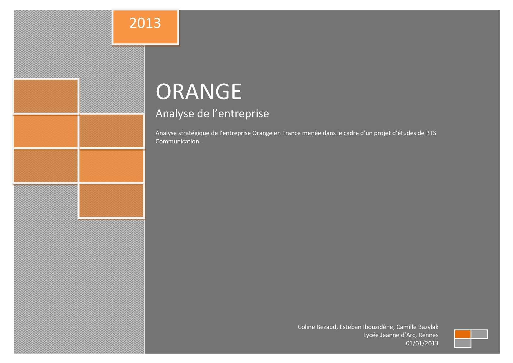 Calam o analyse de l 39 entreprise orange 2013 - Office national de publication et de communication ...
