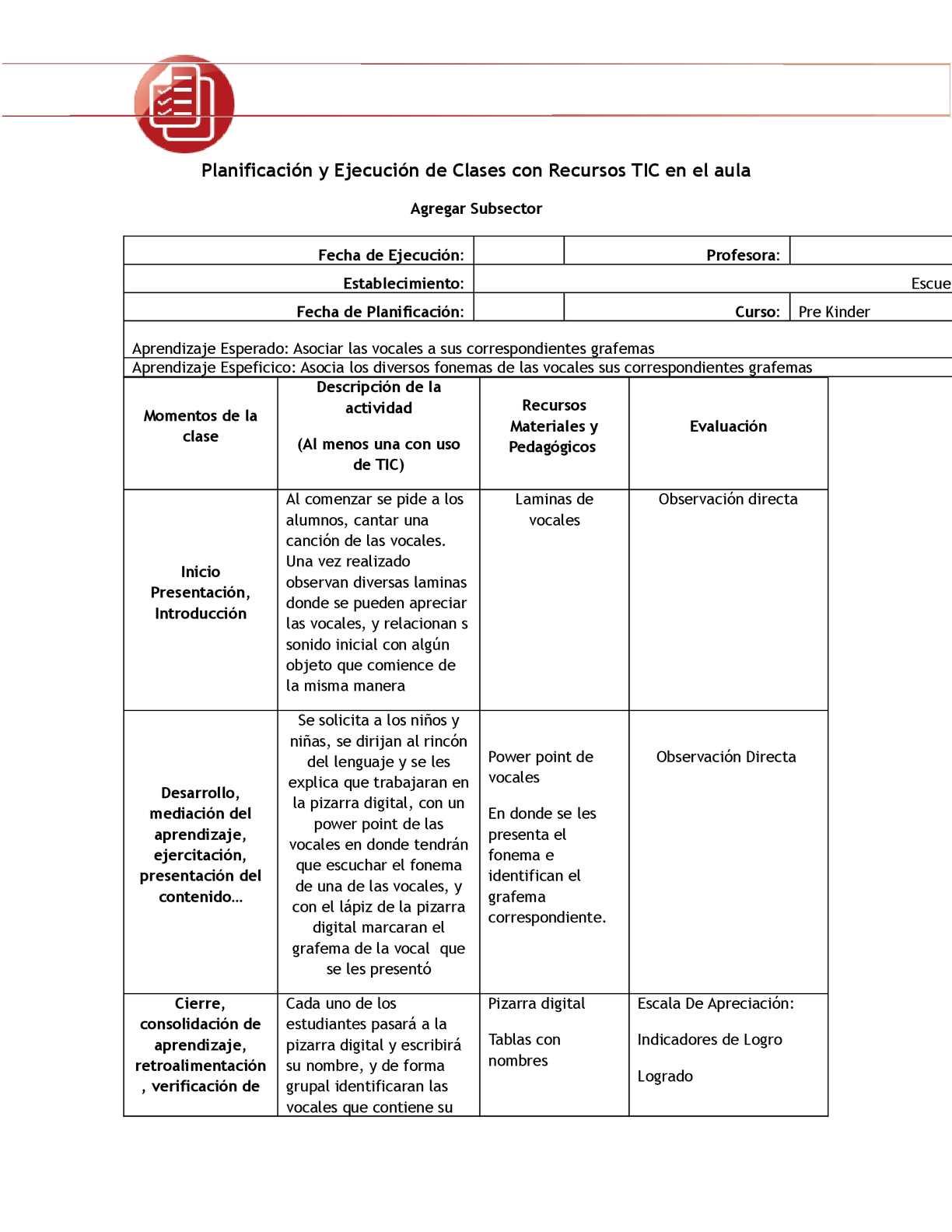 Planificacion de las vocales en educacion inicial for Planificacion de educacion inicial