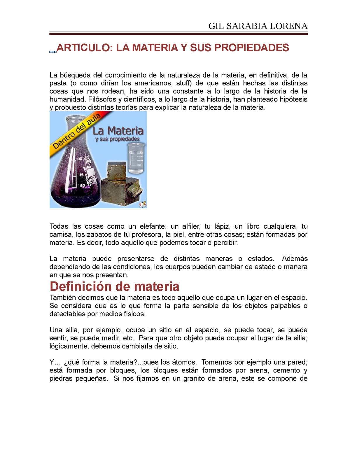 Calam o articulo materia y sus propiedades for Inmobiliaria definicion