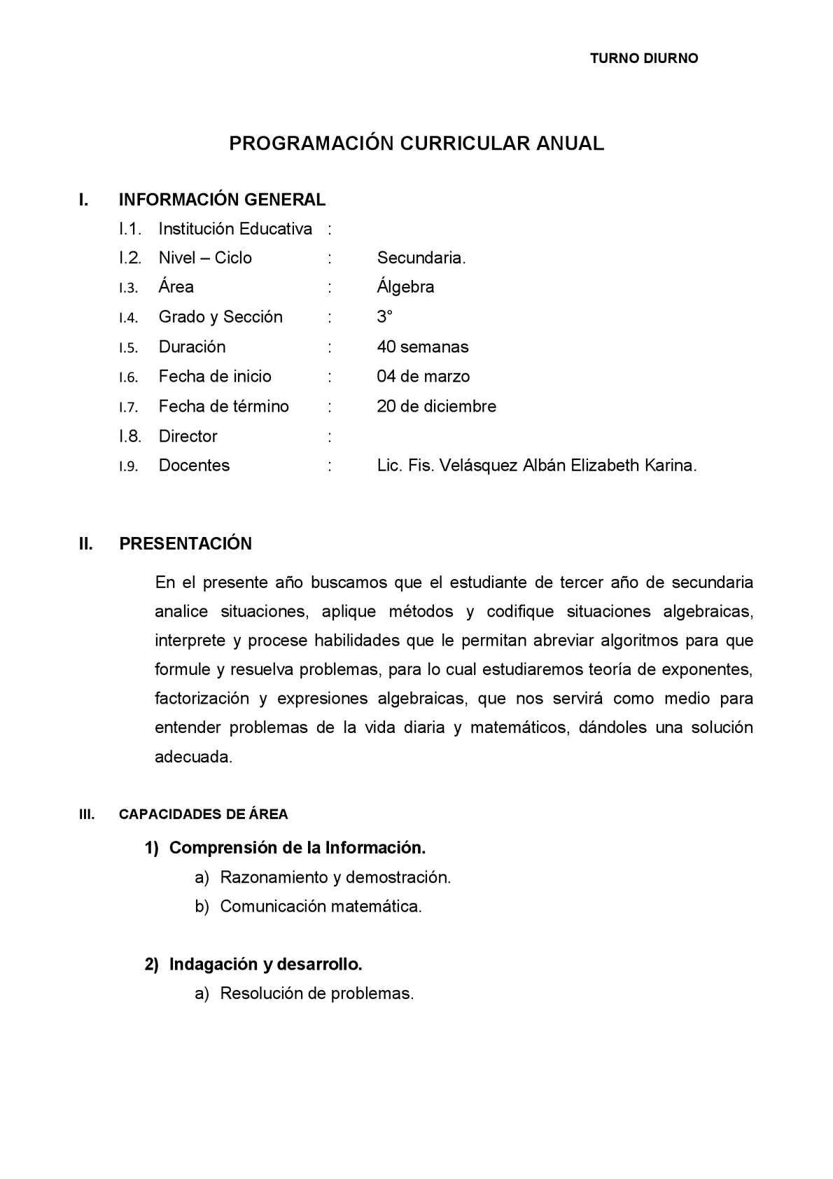 PROGRAMACION CURRICULAR ANUAL ALGEBRA 3ERO