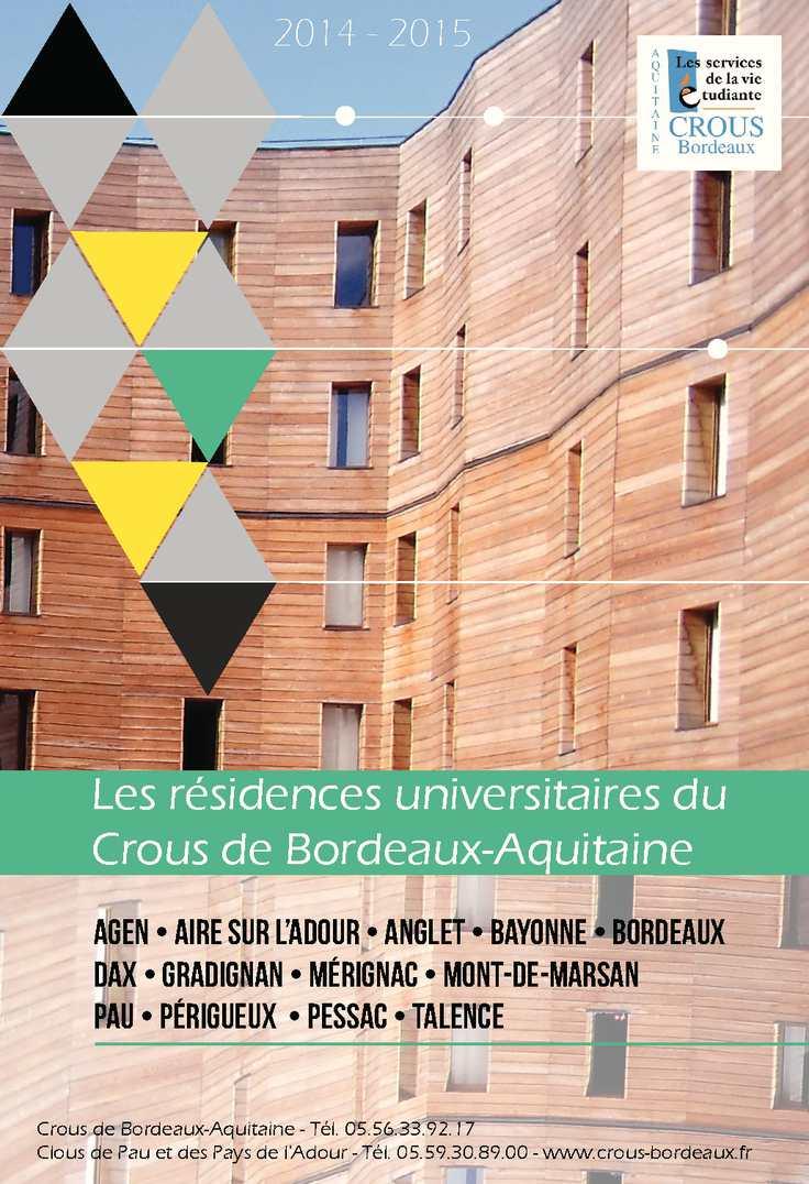 Calam o guide des r sidences tarifs for Chambre universitaire bordeaux