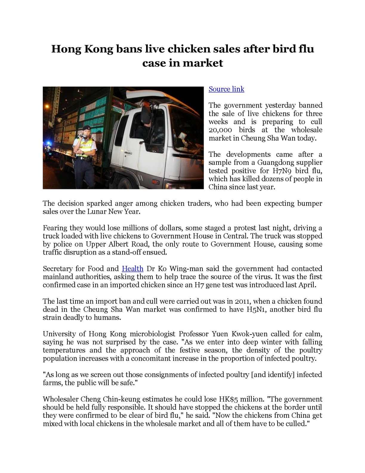 calamo hong kong bans live chicken sales after bird flu case in market