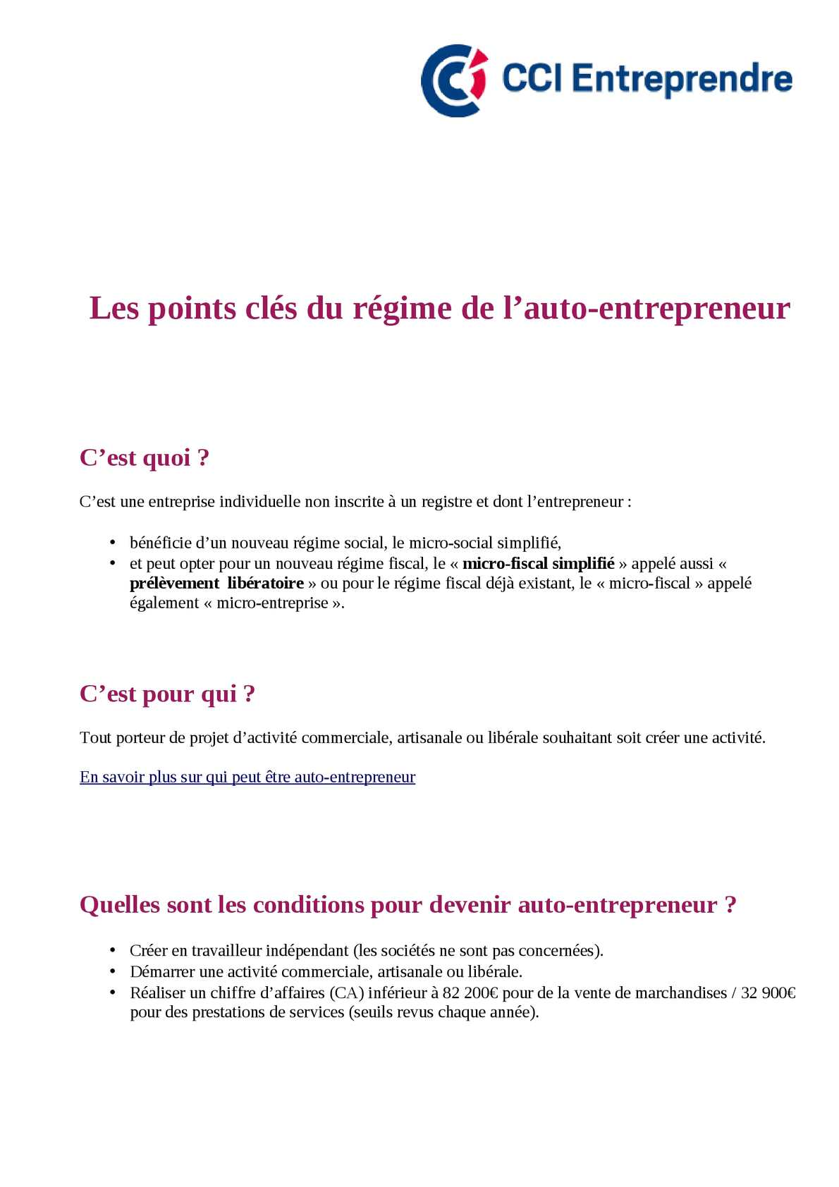 Calameo Le Statut D Auto Entrepreneur Publie Par Les Cci De France