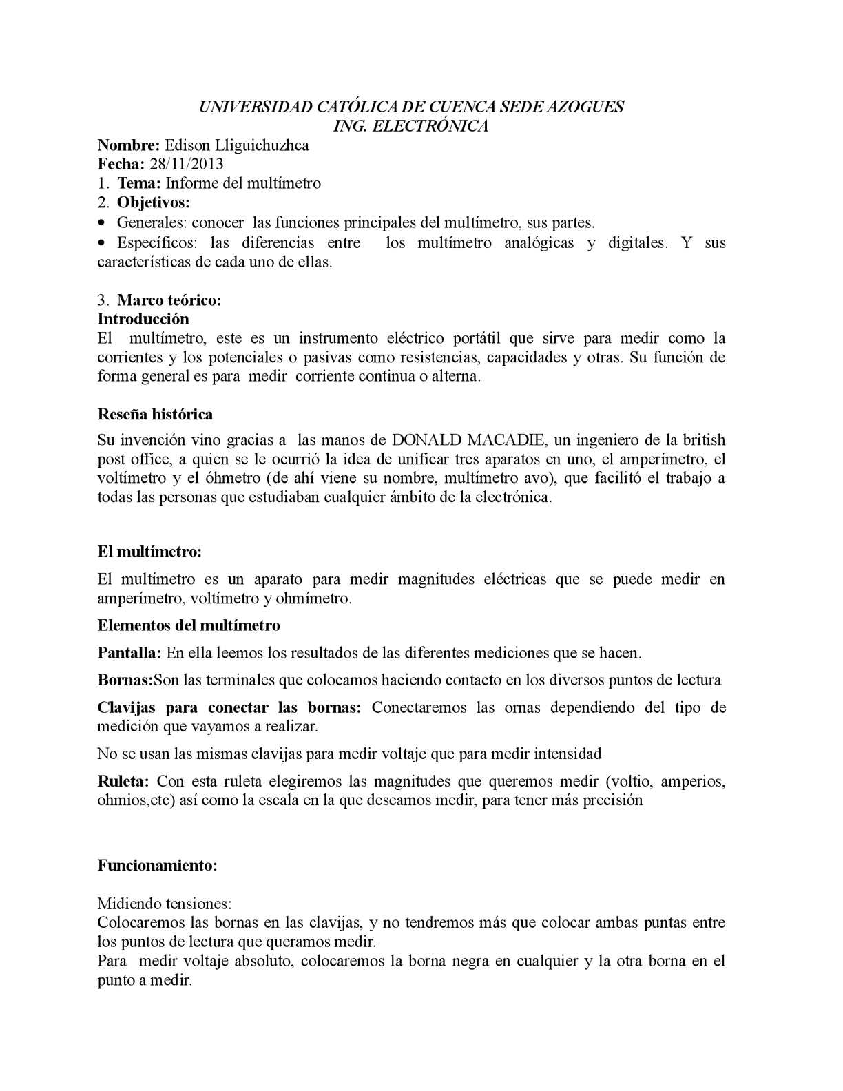 Calaméo - Informe del Multimetro