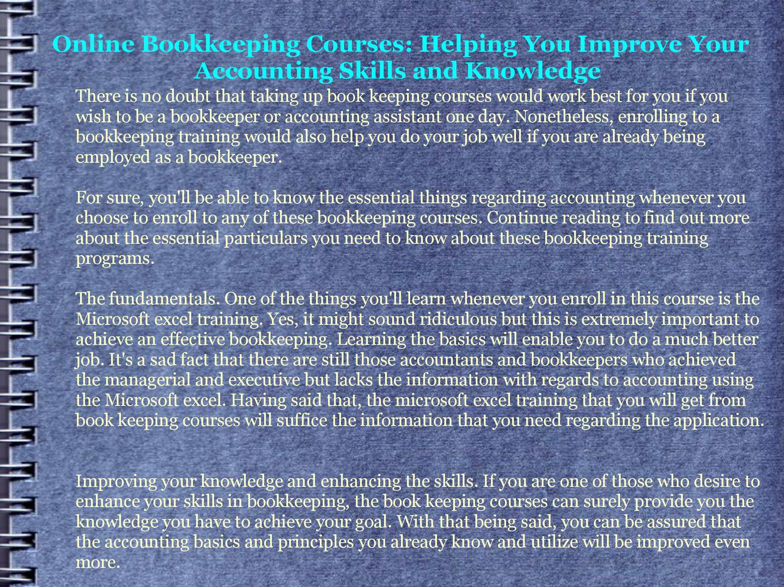 Calamo Online Bookkeeping Courses Helping You Improve Your