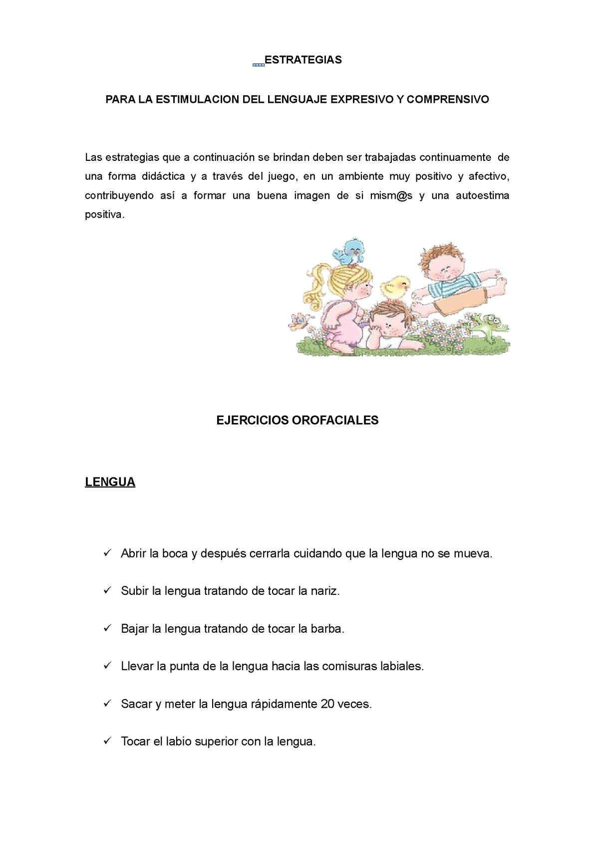 ESTIMULACION DEL LENGUAJE EXPRESIVO Y COMPRENSIVO