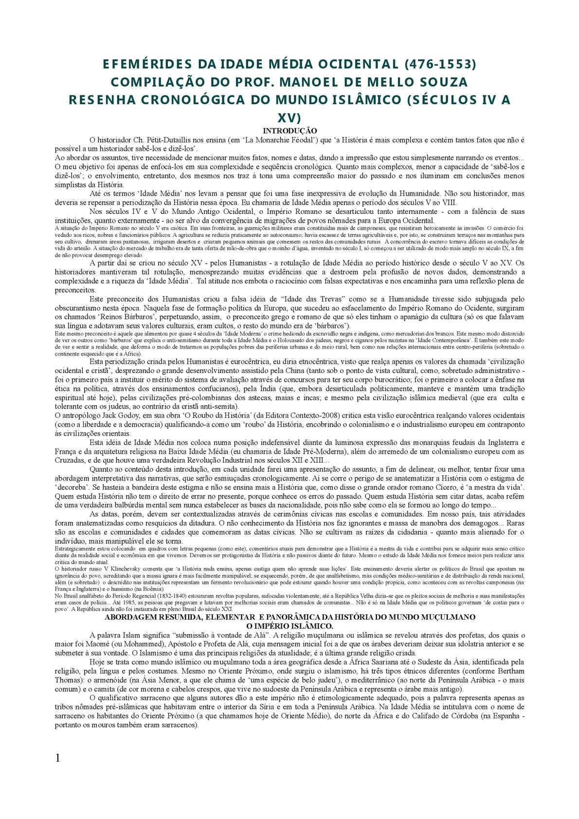 Árabes-Cronologia do Mundo Islâmico Medieval