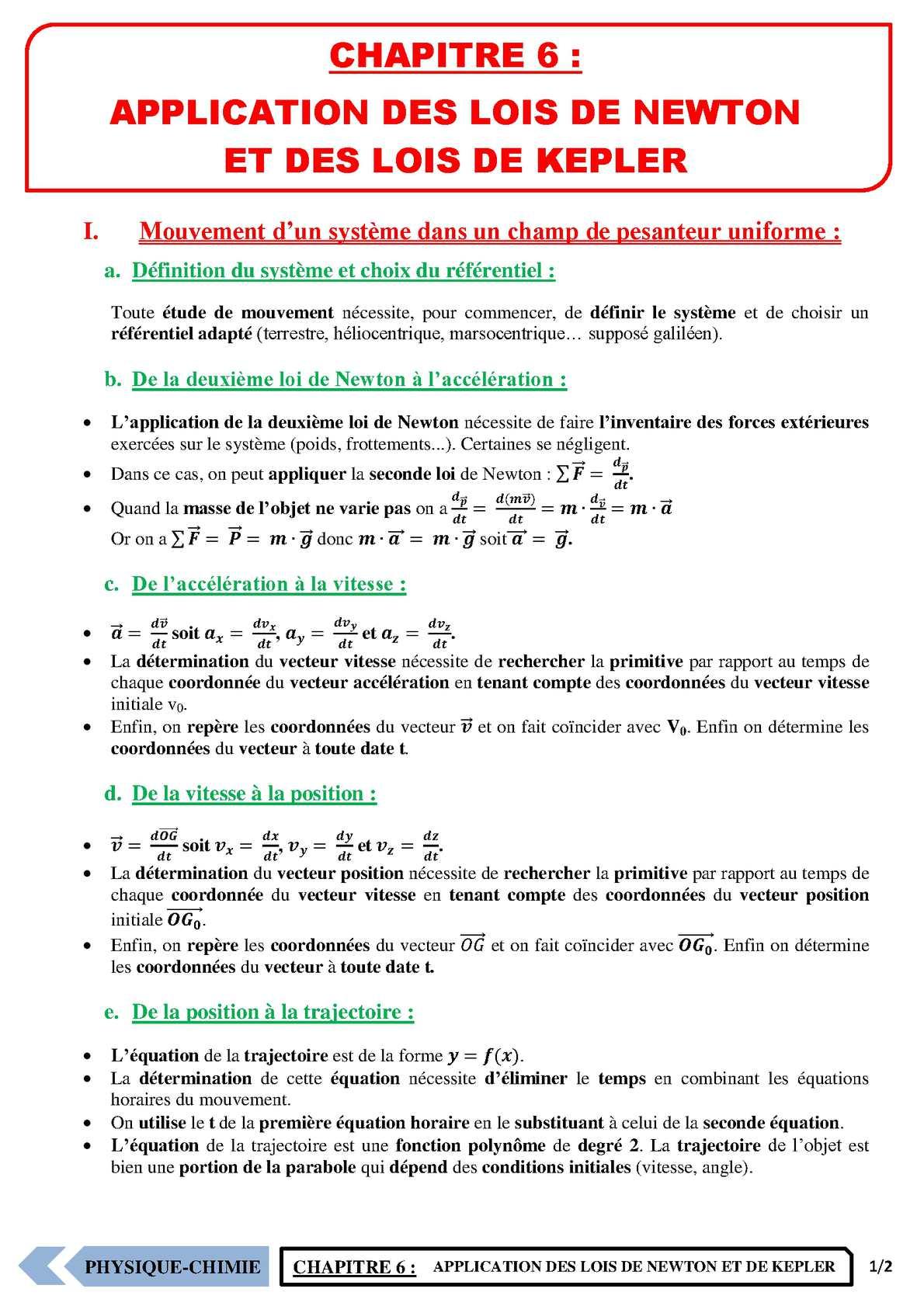 TS - PHYSIQUE/CHIMIE – Chapitre 6 | JéSky.fr