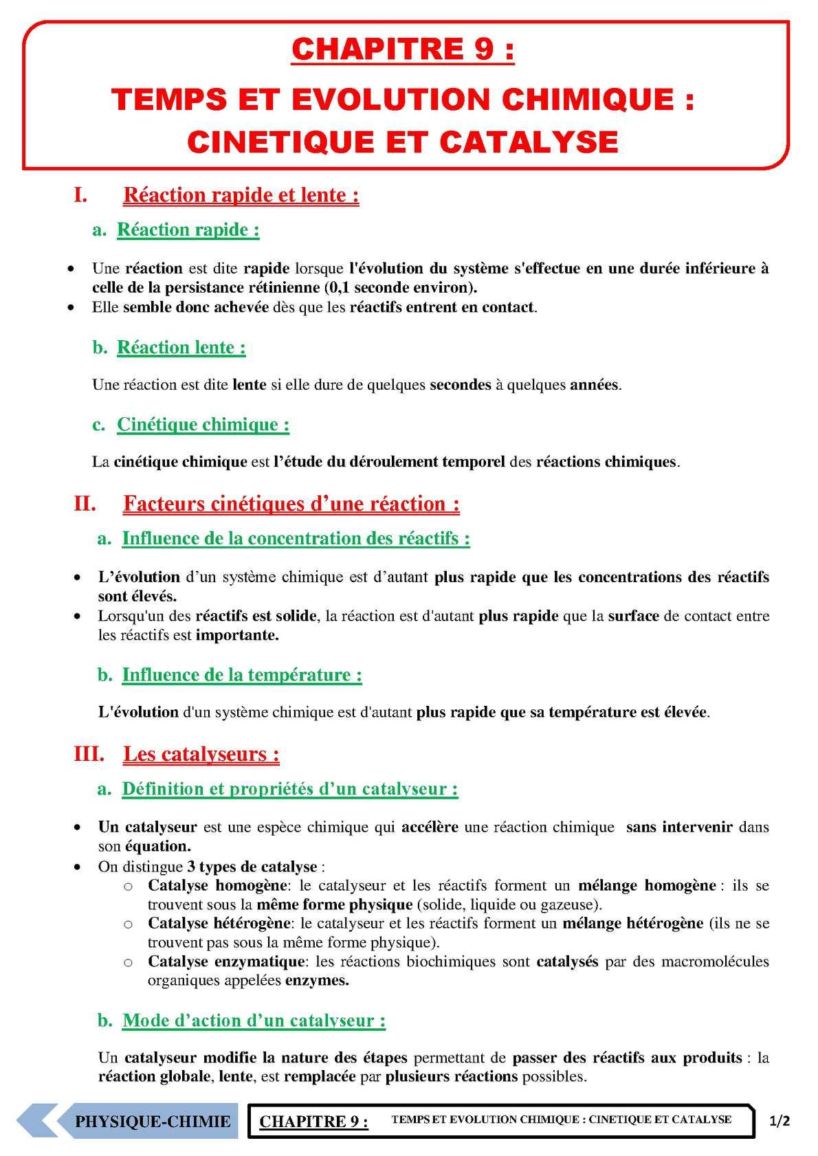 TS - PHYSIQUE/CHIMIE – Chapitre 9 | JéSky.fr