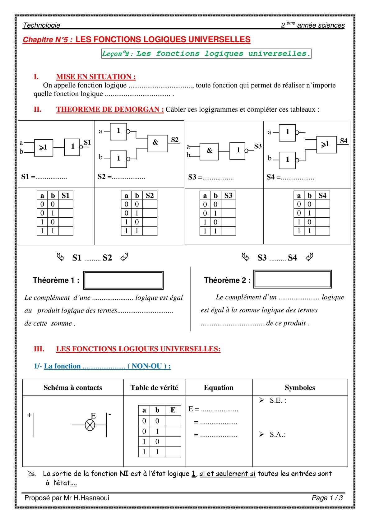Calam o ch5 lec 2 les fonctions logiques universelles for Les fonctions logiques