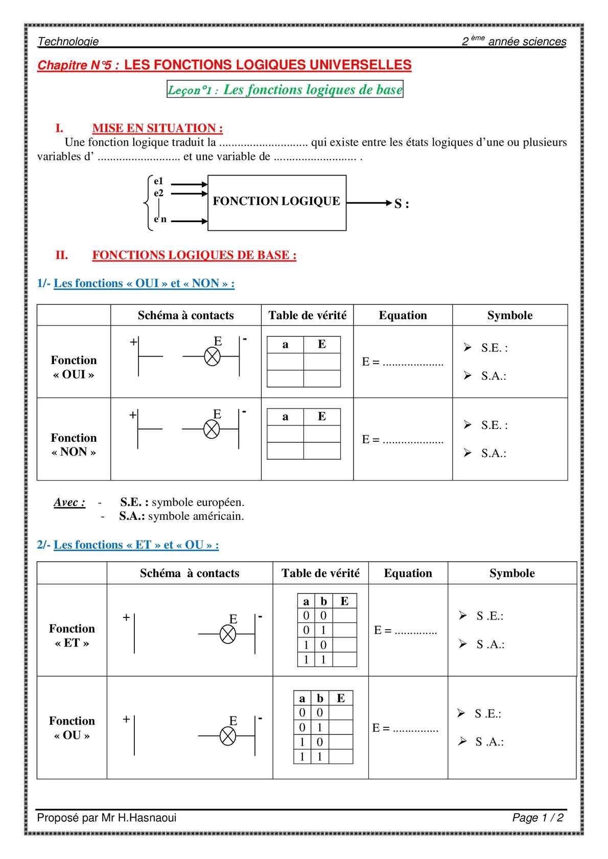 calam o ch5 lec 1 les fonctions logiques de base ForBase Logique