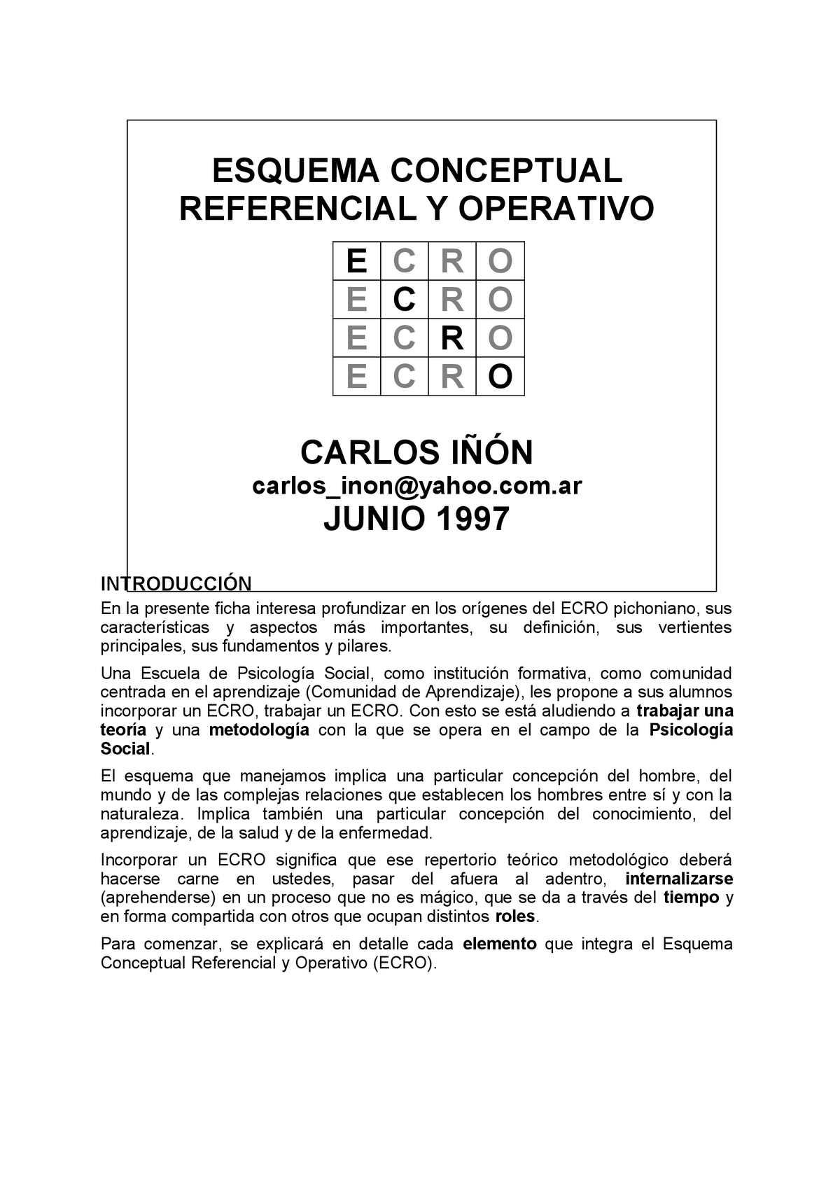 Esquema Conceptual, Referencial y Operativo del Dr. E. Pichon Rivière