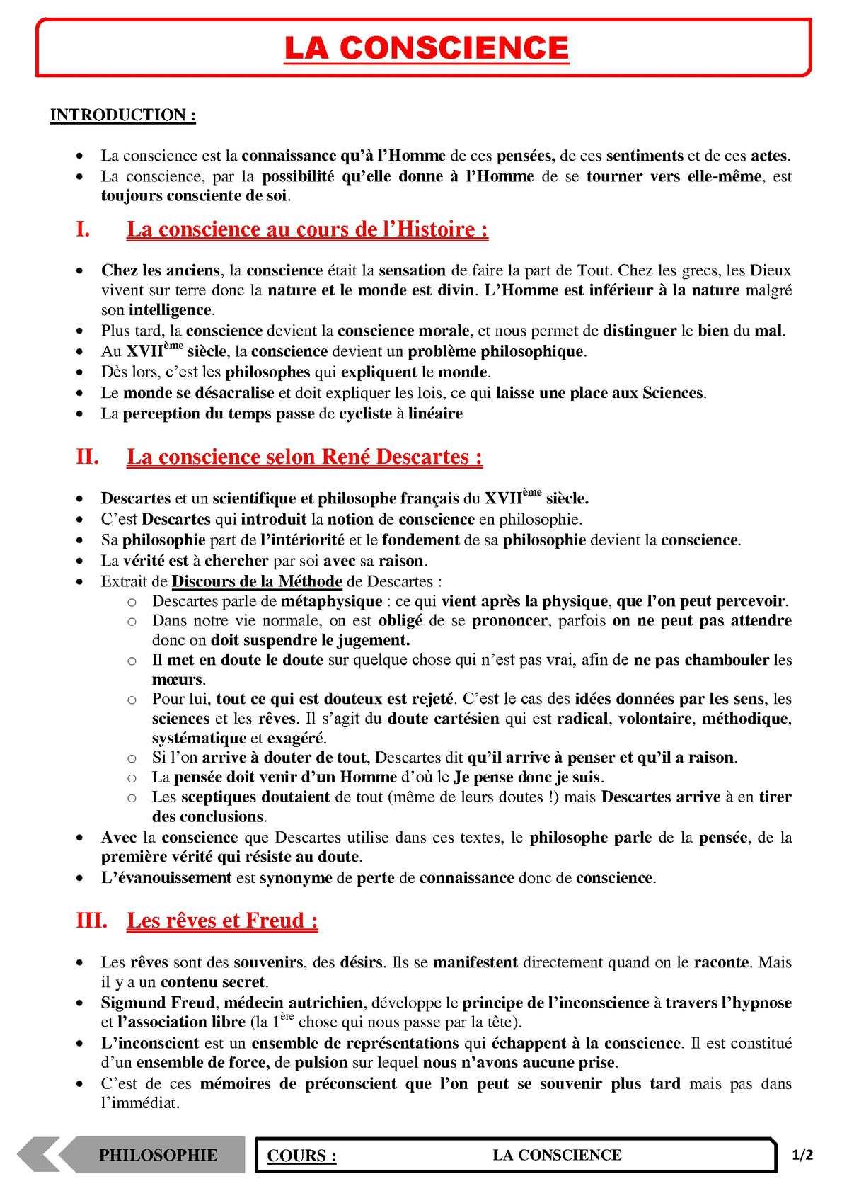 TS - PHILOSOPHIE – Conscience et inconscience | JéSky.fr