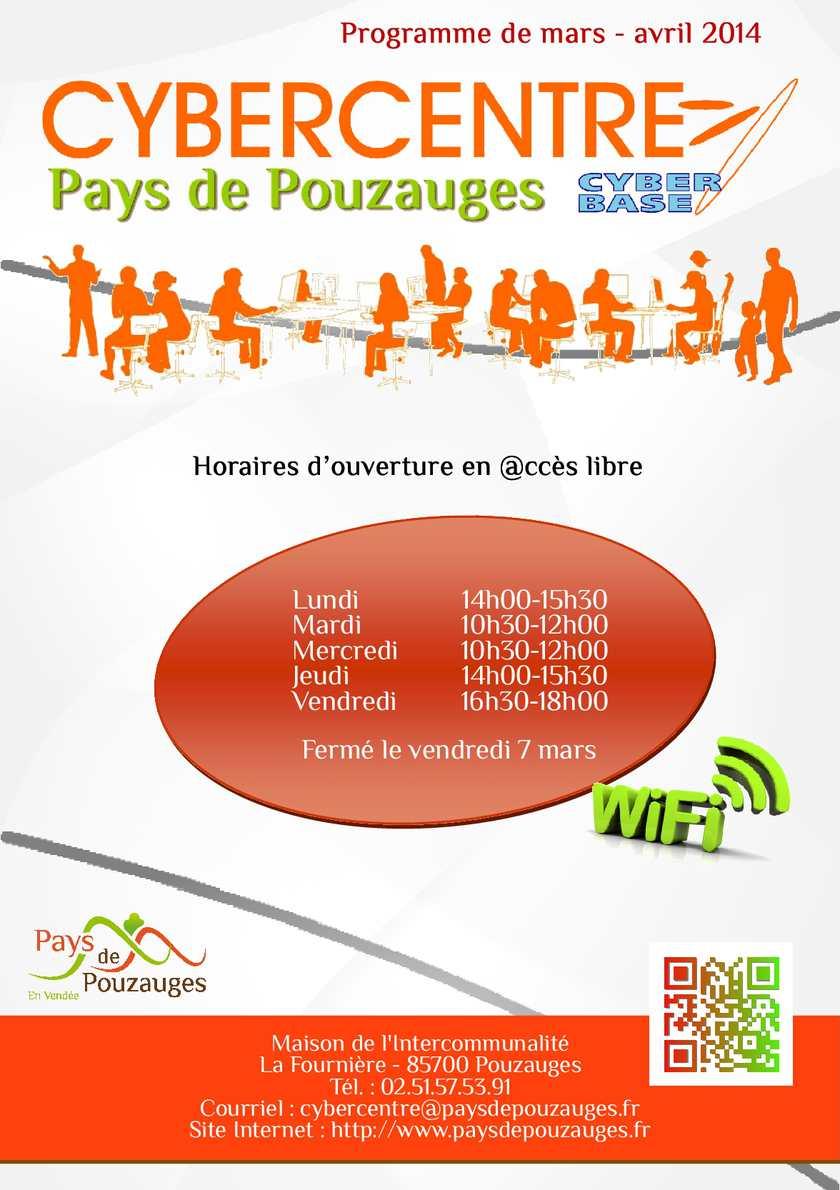 Programme des ateliers au Cybercentre du Pays de Pouzauges - mars / avril 2014