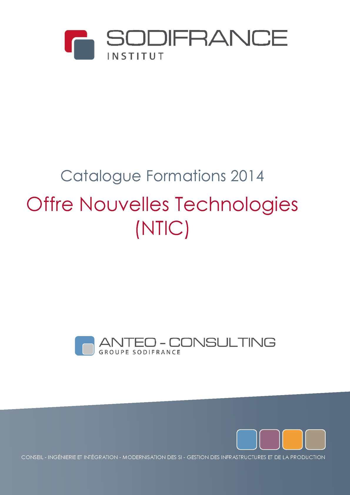 Sodifrance - Catalogue de formation NTIC