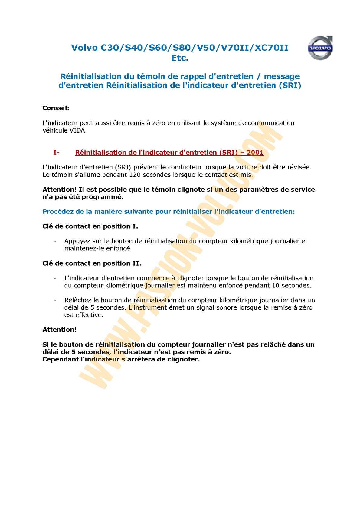 Calaméo - Volvo - Procédure reset voyant entretien (SRI) - à partir de 2001