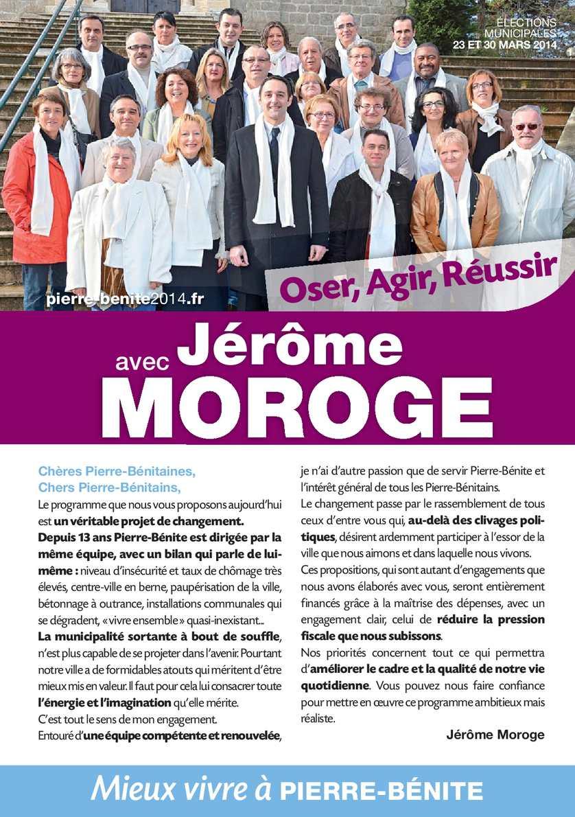 Programme de Mieux Vivre à Pierre-Bénite avec Jérôme Moroge