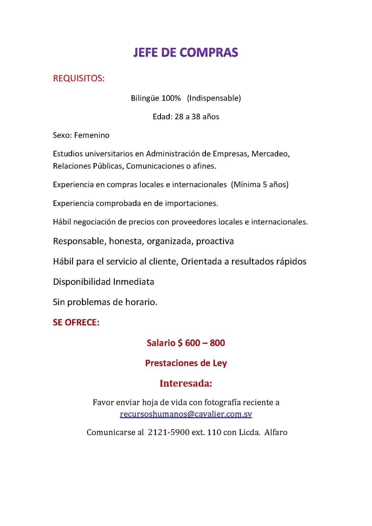 Calaméo - Oportunidad de empleo, Jefe de compras, ejecutivos en venta