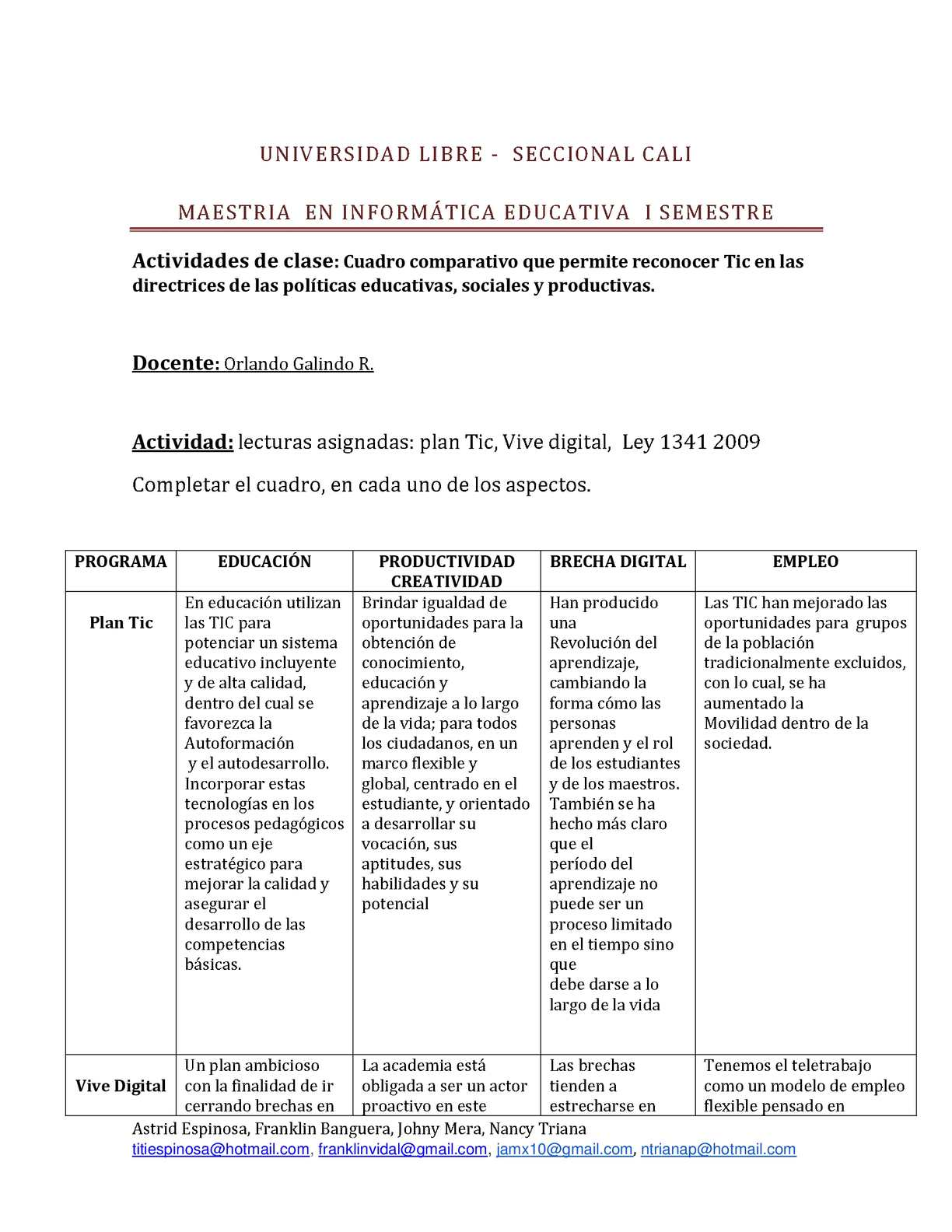 Calaméo - plan Tic, Vive digital, Ley 1341 2009