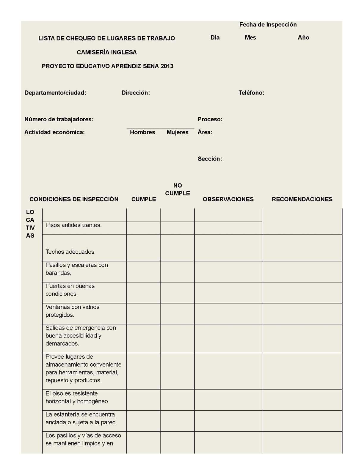 Bonito Plantilla De Lista De Verificación De Inspección De Propiedad ...