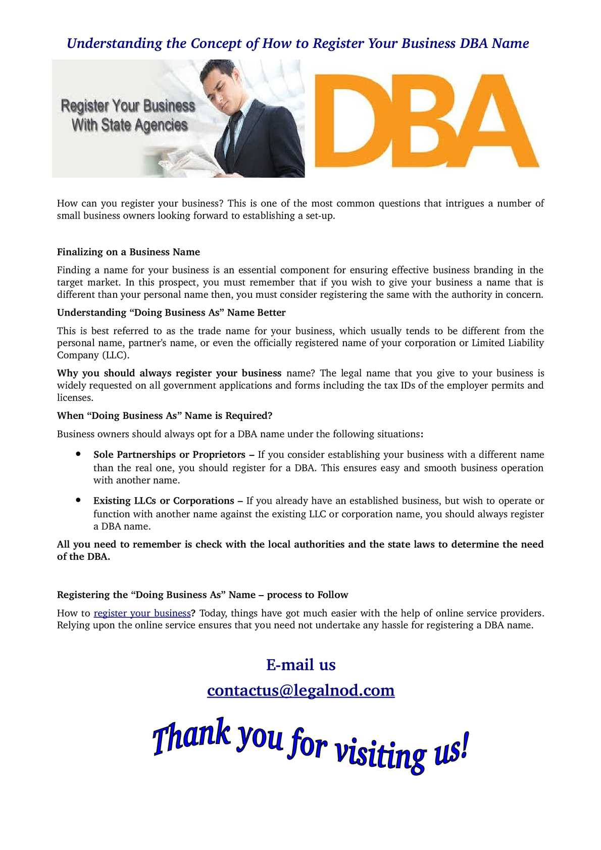How to Register a Doing Business As or DBA Name in California