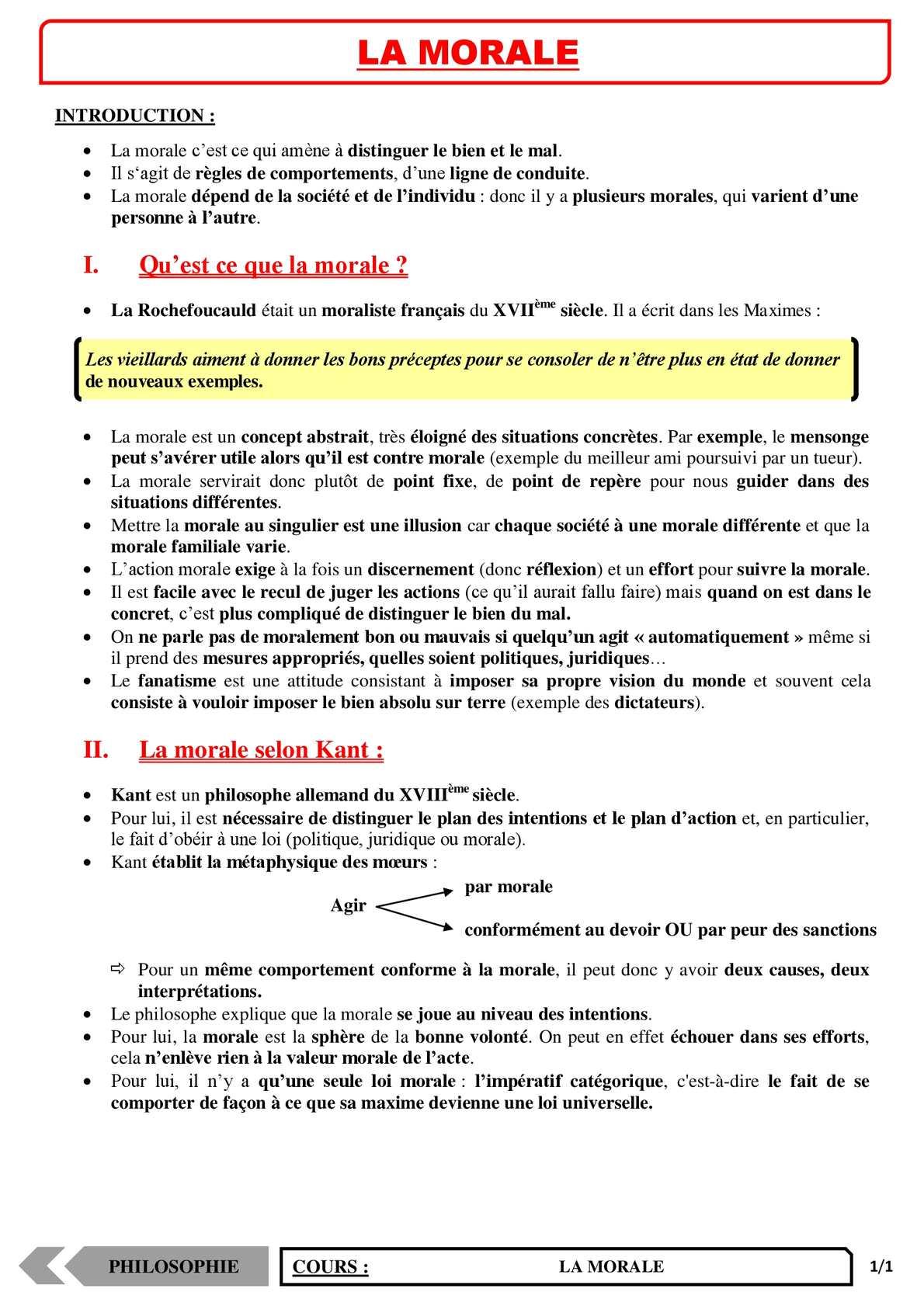 TS - PHILOSOPHIE – La morale | JéSky.fr
