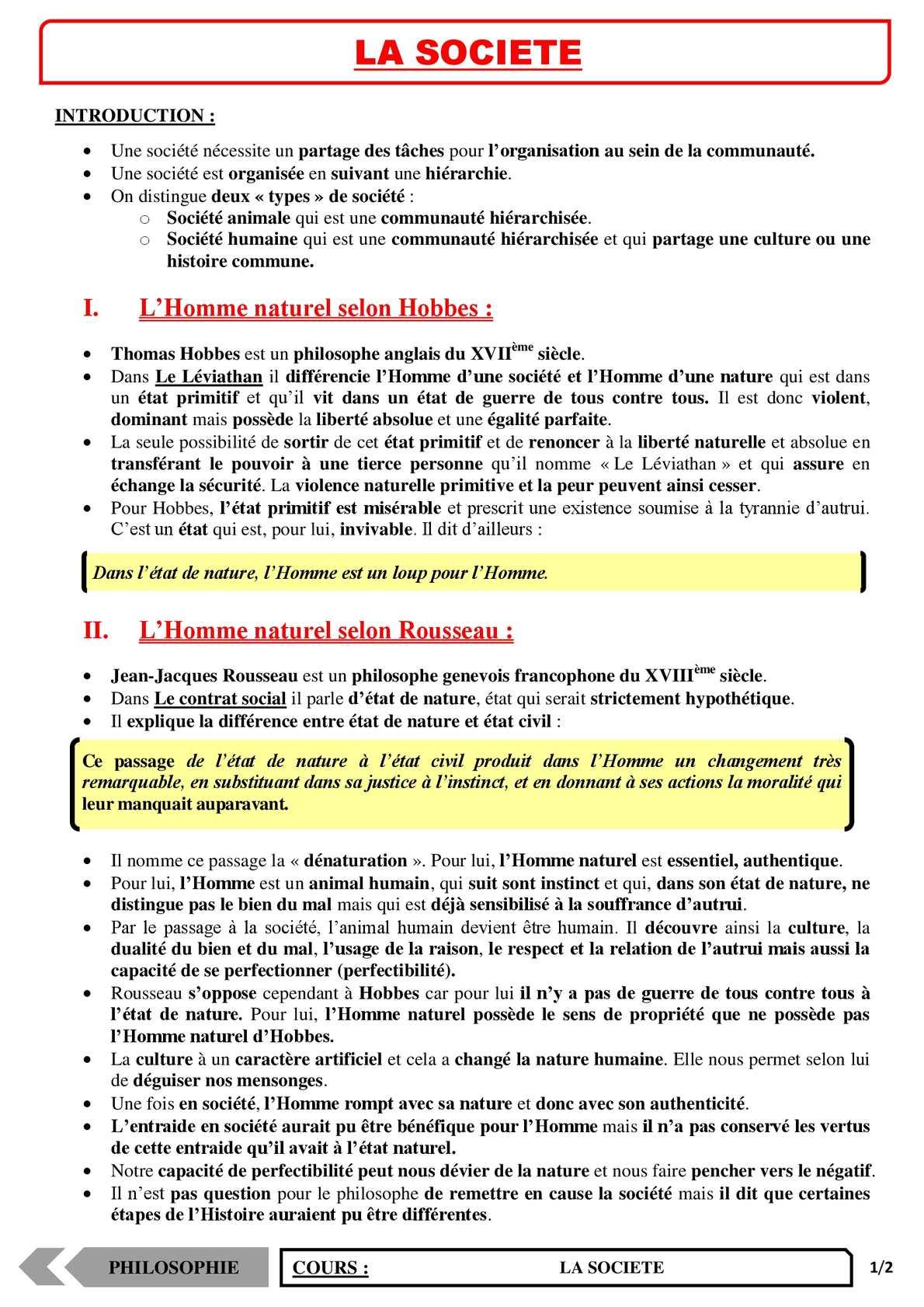 TS - PHILOSOPHIE – La société | JéSky.fr