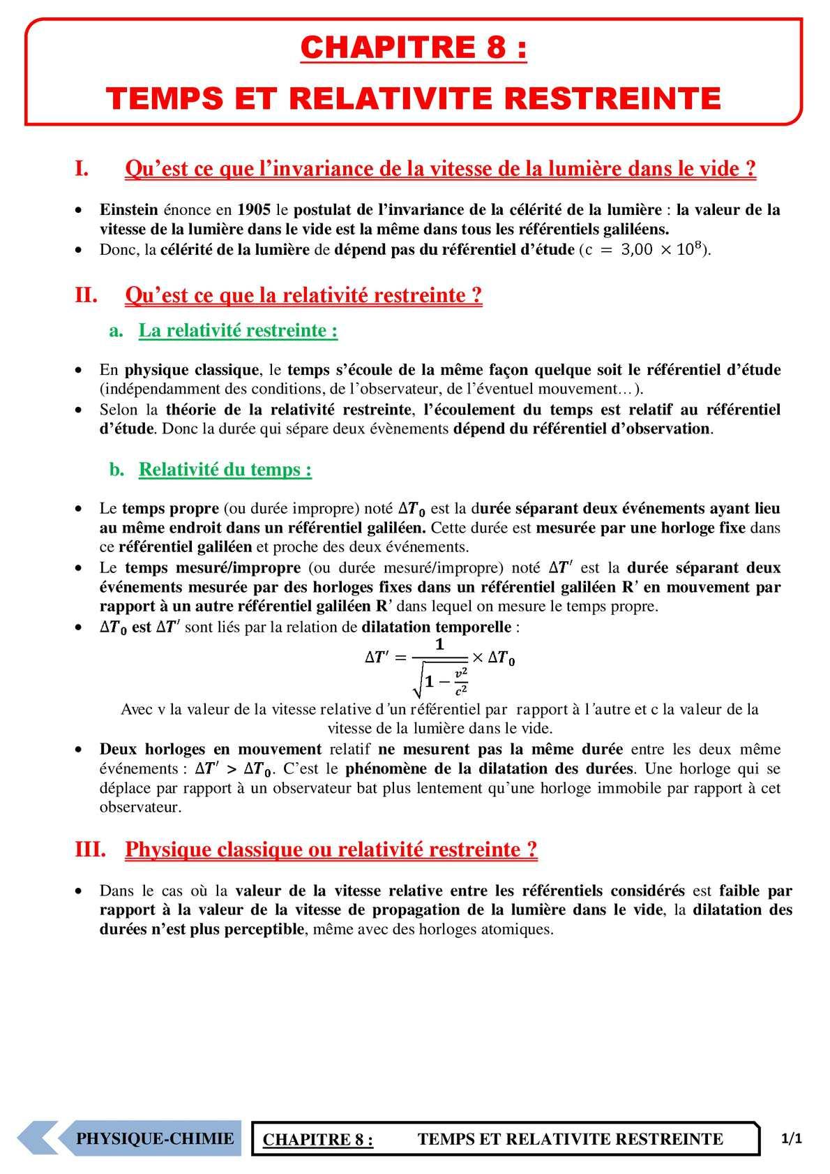 TS - PHYSIQUE/CHIMIE – Chapitre 8 | JéSky.fr