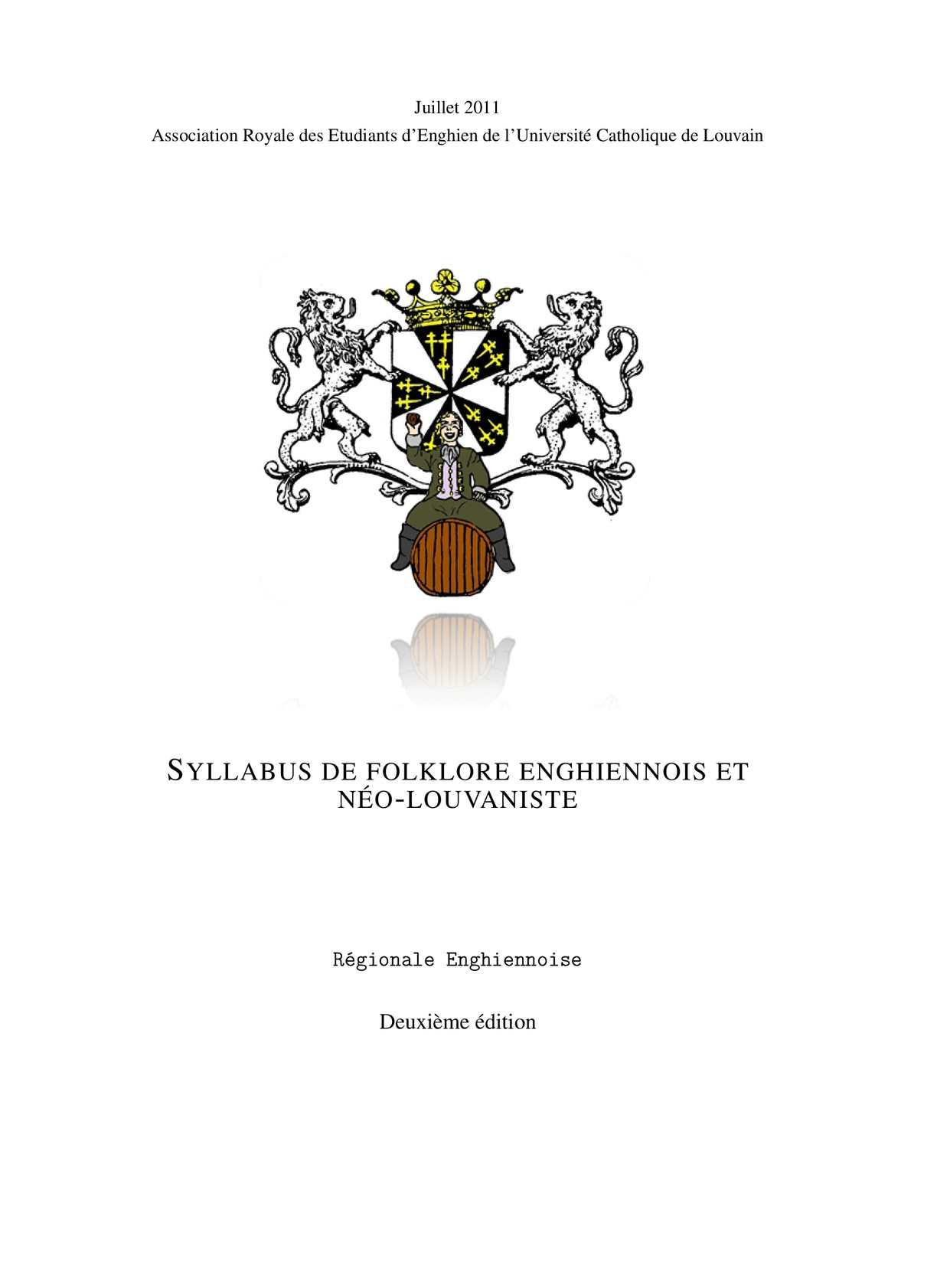 Syllabus de Folklore Enghiennois et Néo-Louvaniste