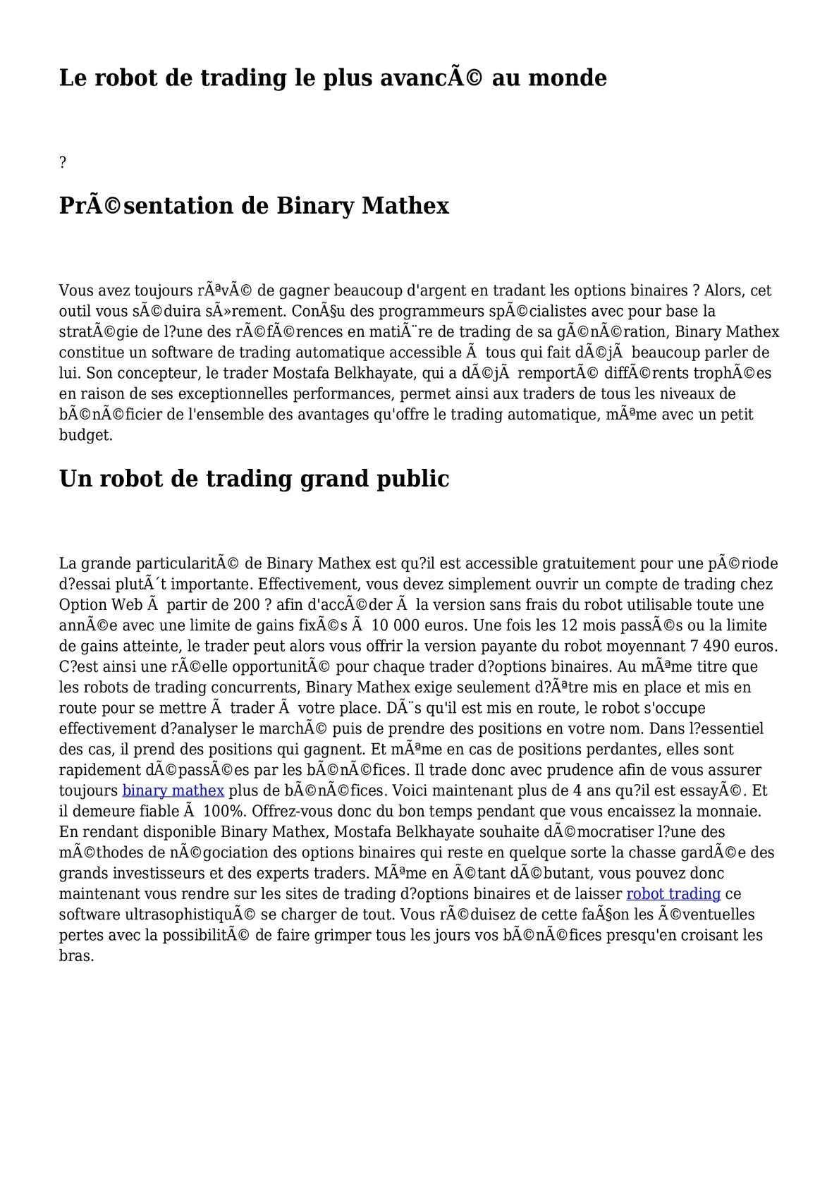 Binary option robot mathex