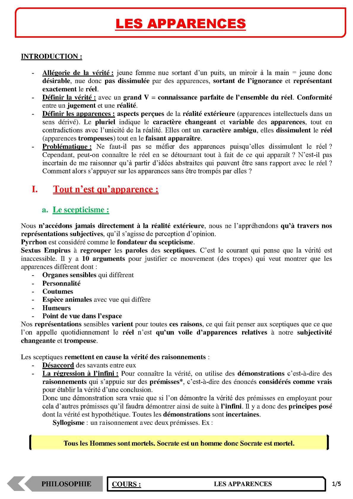 TS - PHILOSOPHIE – Les apparences | JéSky.fr