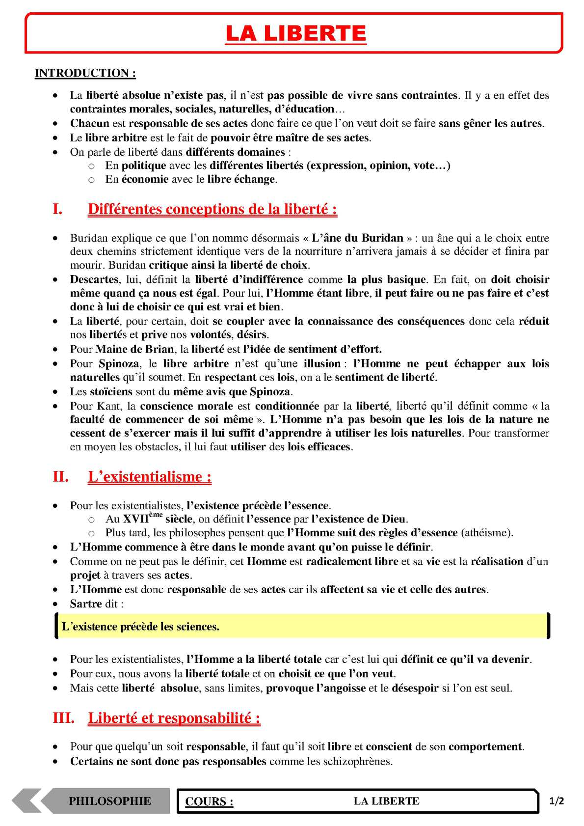 TS - PHILOSOPHIE – Le liberté | JéSky.fr