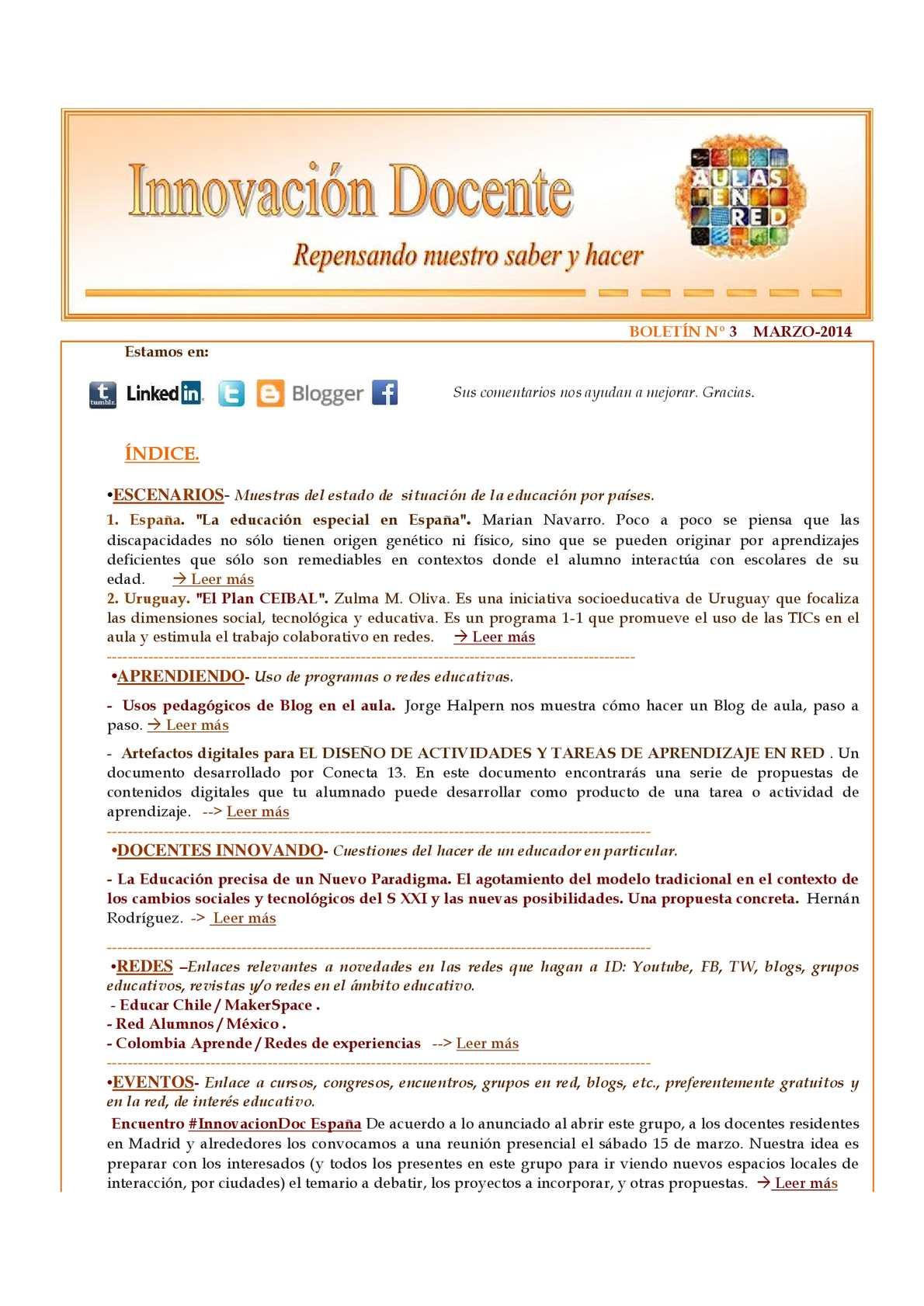 Calaméo - Boletín Nº3 de Innovación Docente