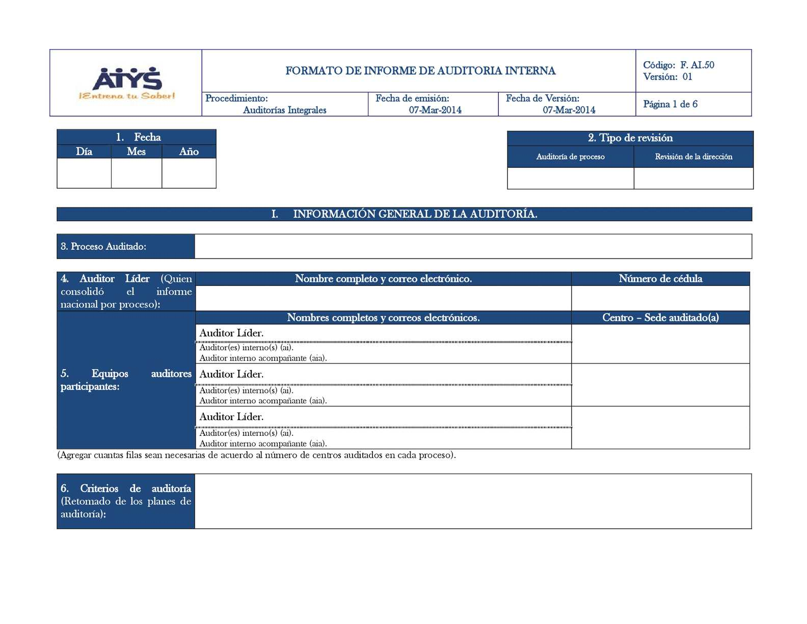 Calaméo - F. AI .50 Formato Informe de Auditoria