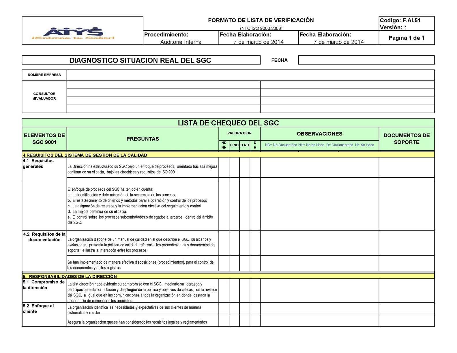 Calaméo - F.AI.51 Formato Lista de Verificación ISO 9000