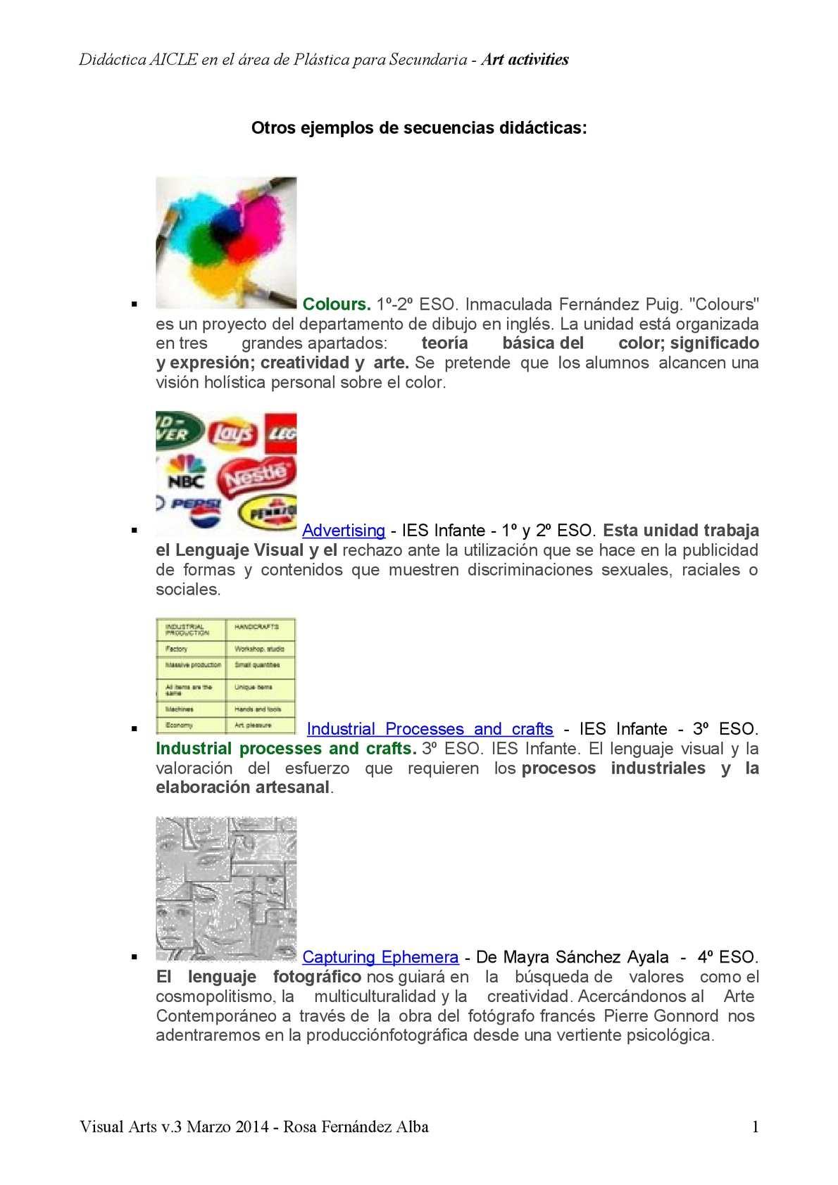 Calaméo Ejemplos De Secuencias Didácticasartísticasecundaria