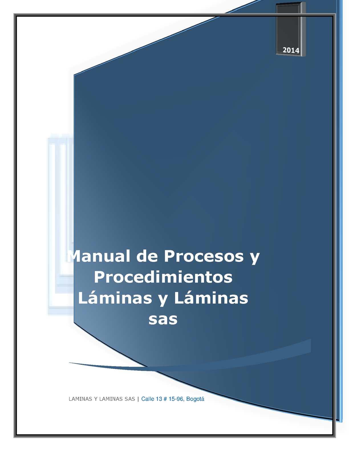 Calaméo - MANUAL DE PROCESOS Y PROCEDIMIENTOS LAMINAS Y LAMINAS SAS