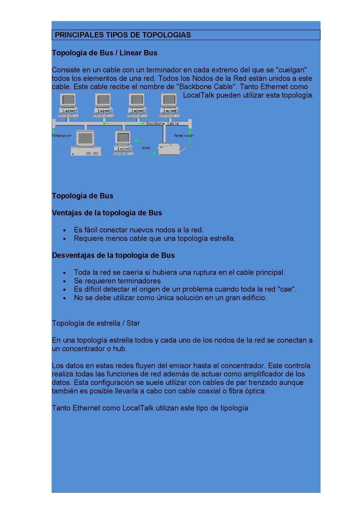PRINCIPALES TIPOS DE TOPOLOGIAS